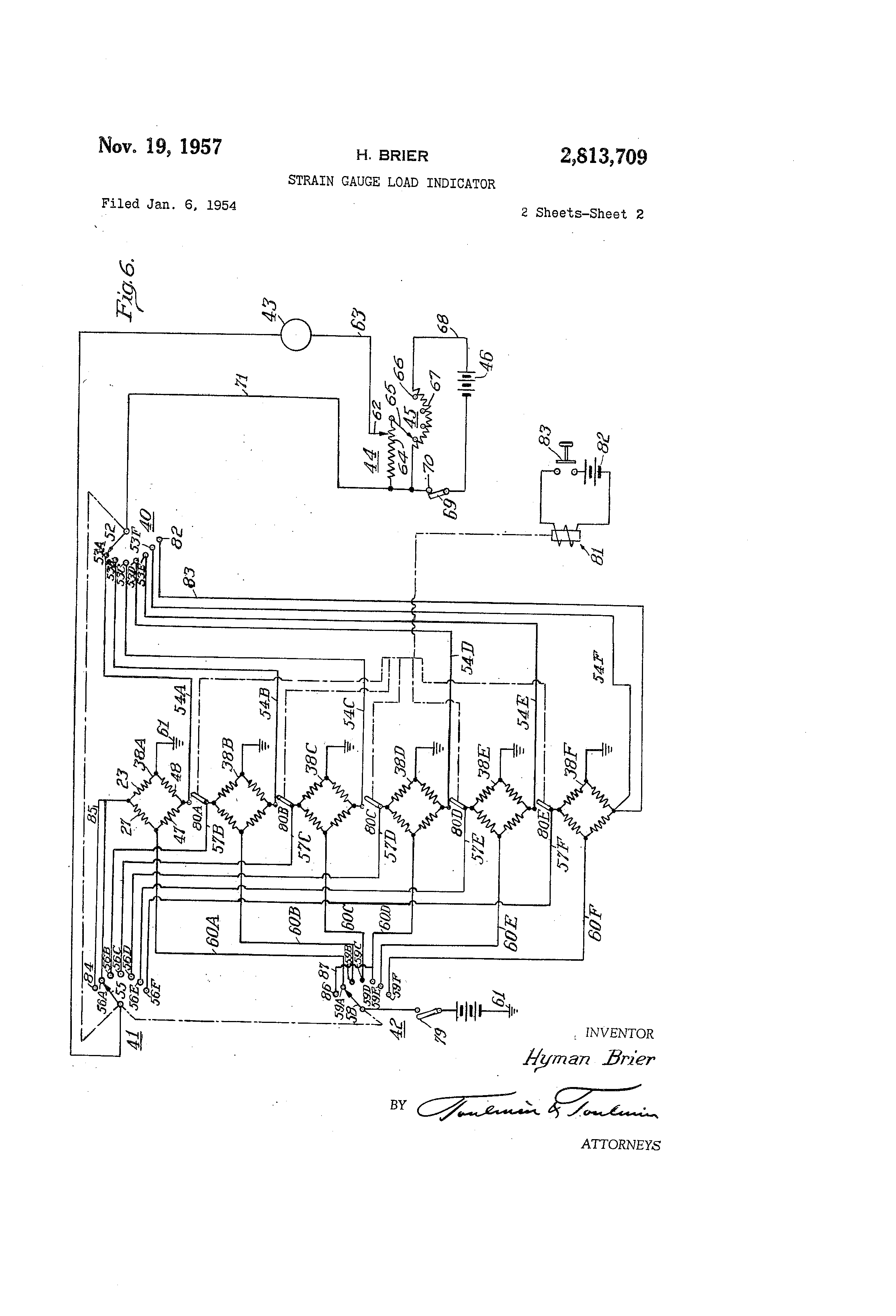 patent us2813709 - strain gauge load indicator