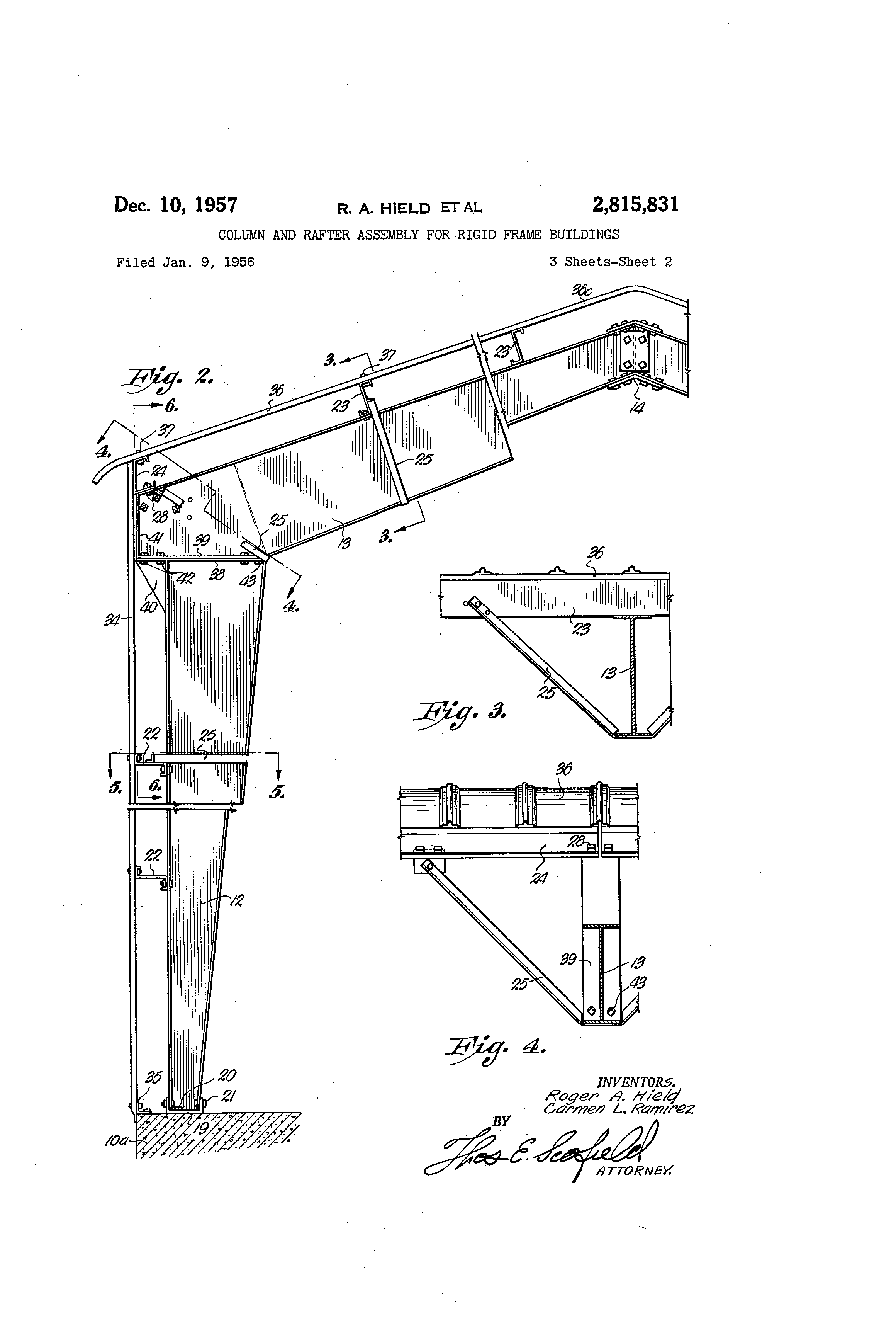 Patent US2815831 - Column and rafter assembly for rigid ...