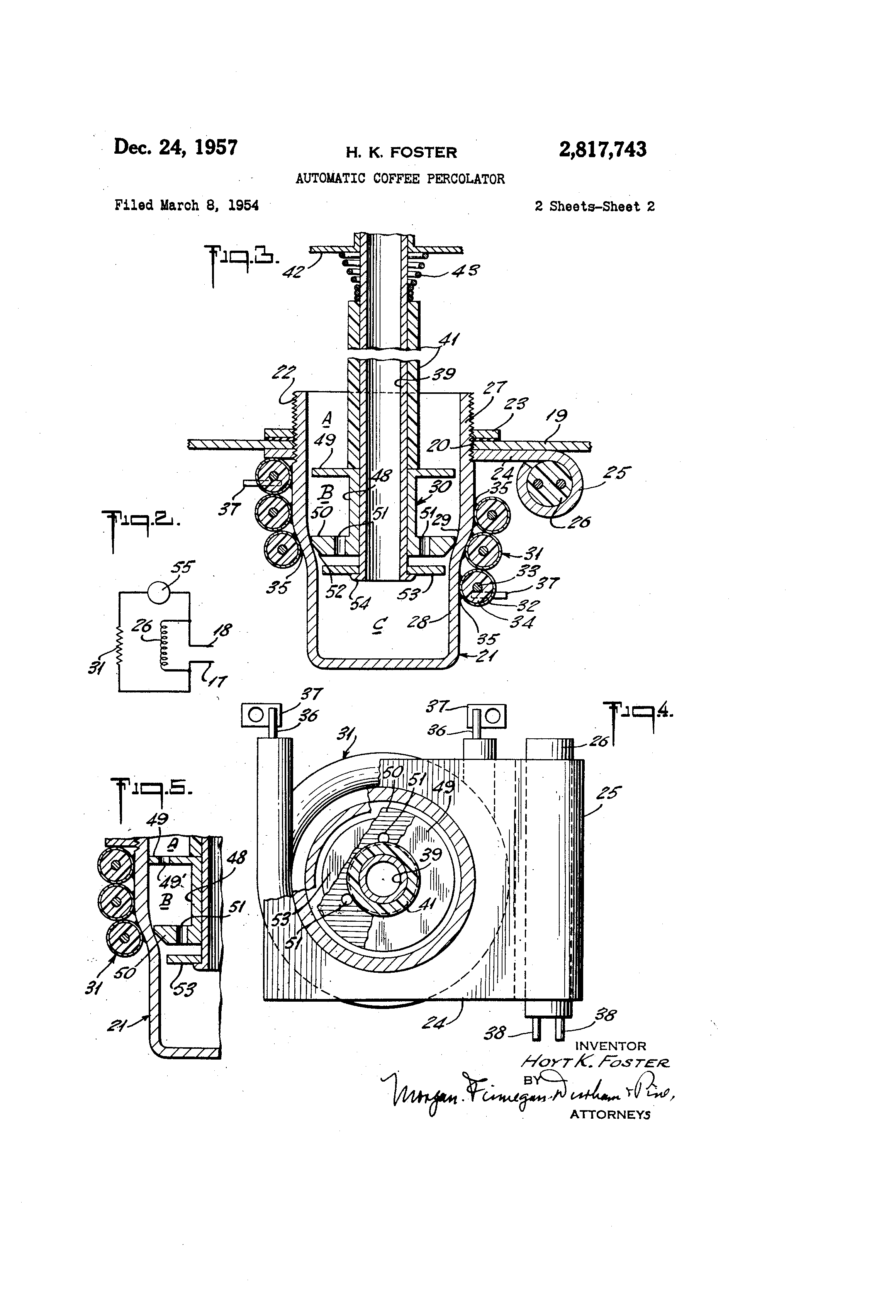 Patent Us2817743 - Automatic Coffee Percolator