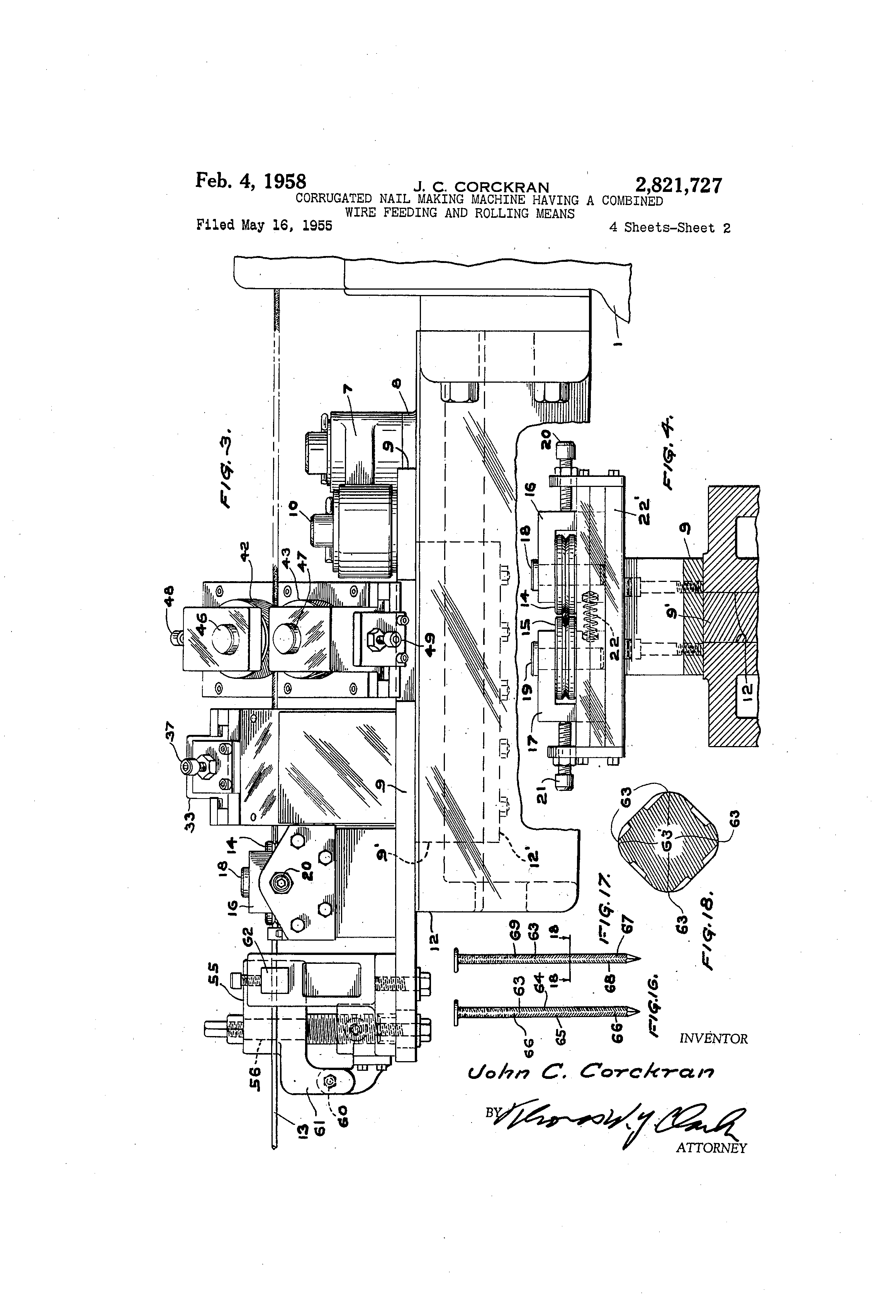 Patent Us2821727 Corrugated Nail Making Machine Having A