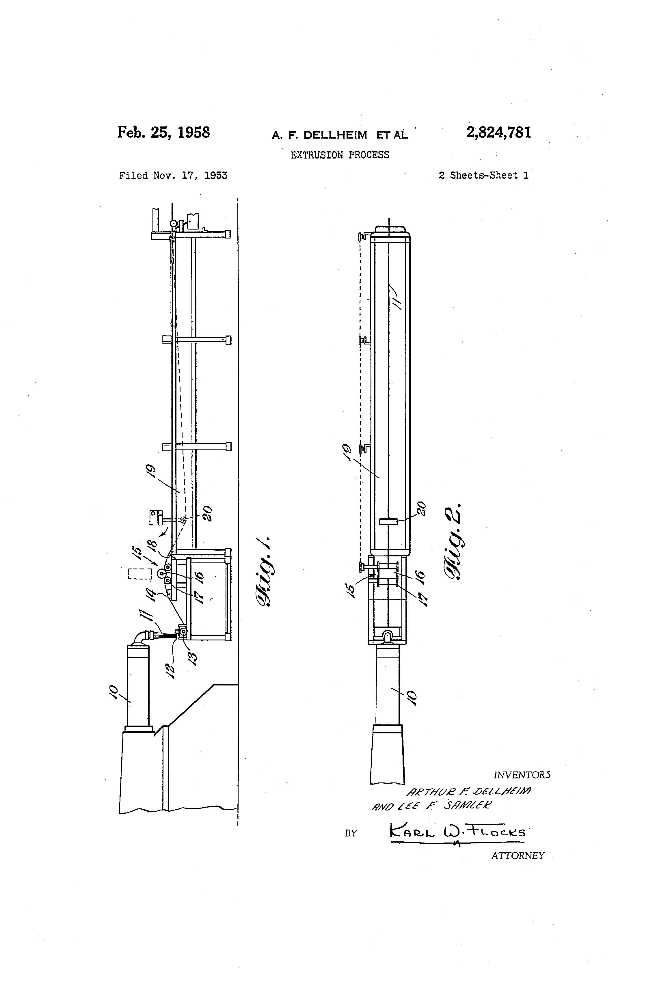 Patent US2824781 - Extrusion process - Google Patents