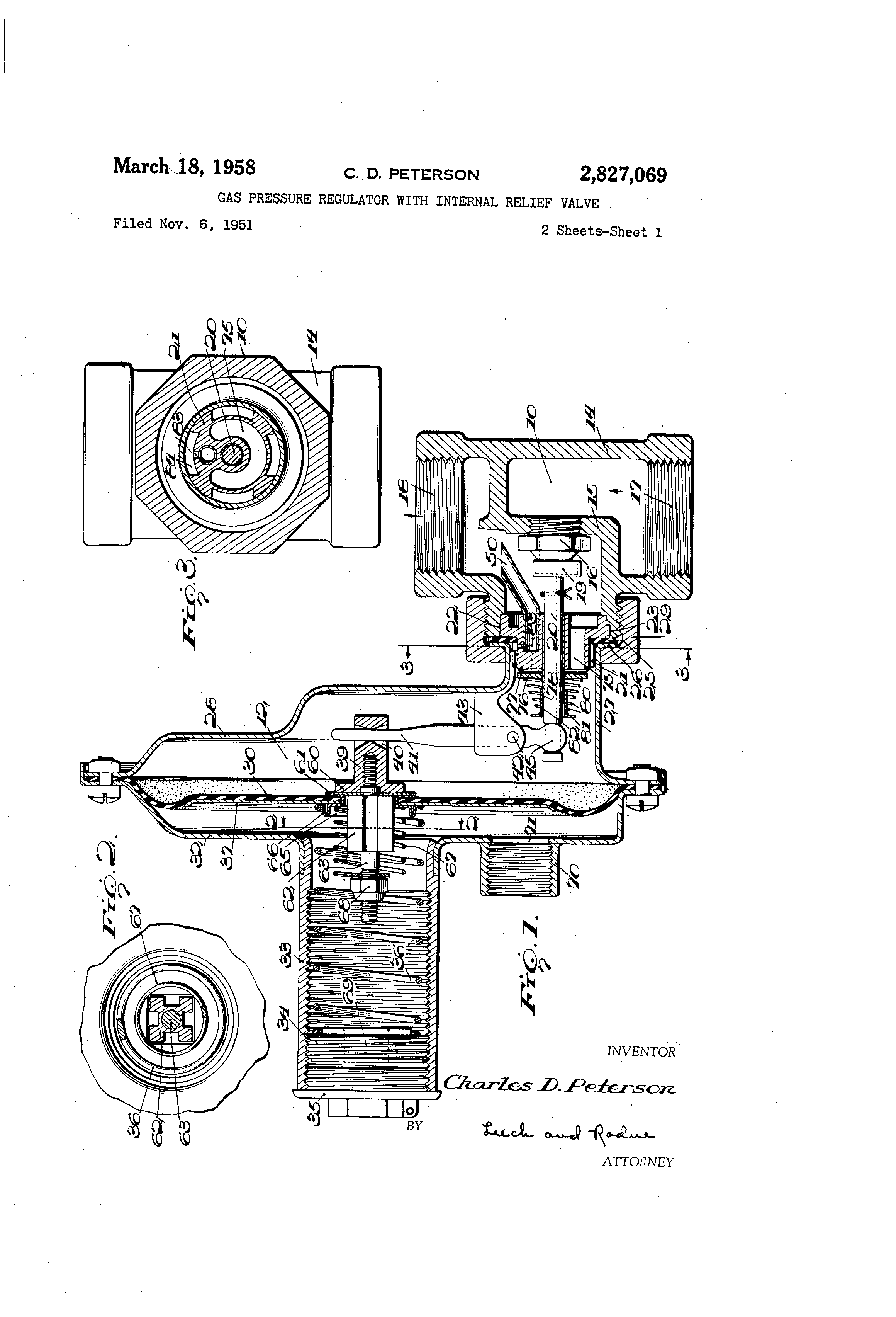 patent us2827069 gas pressure regulator with internal relief