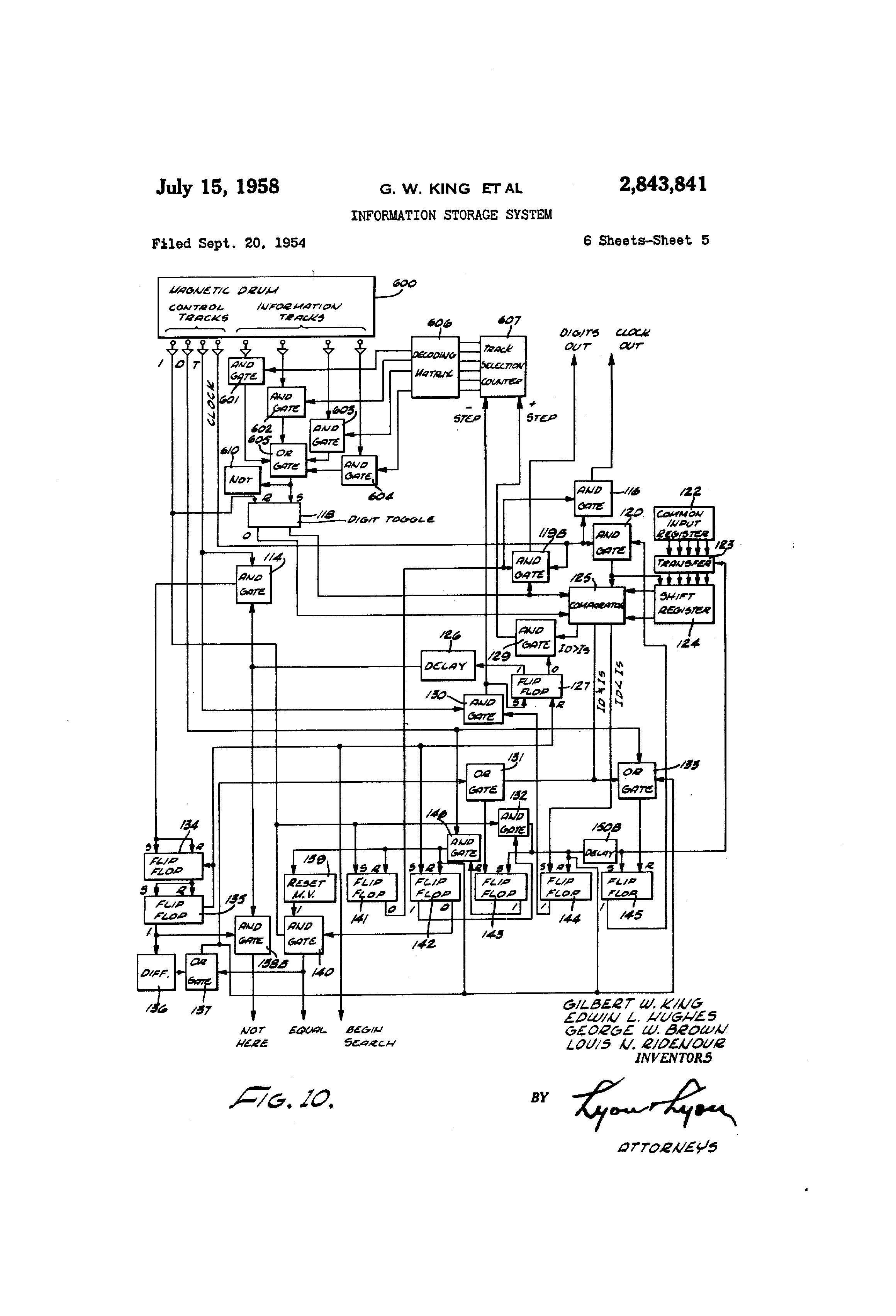 Patent Us2843841 Information Storage System Google Patenti Wireless Video Doorbell Circuit Basiccircuit Diagram Drawing