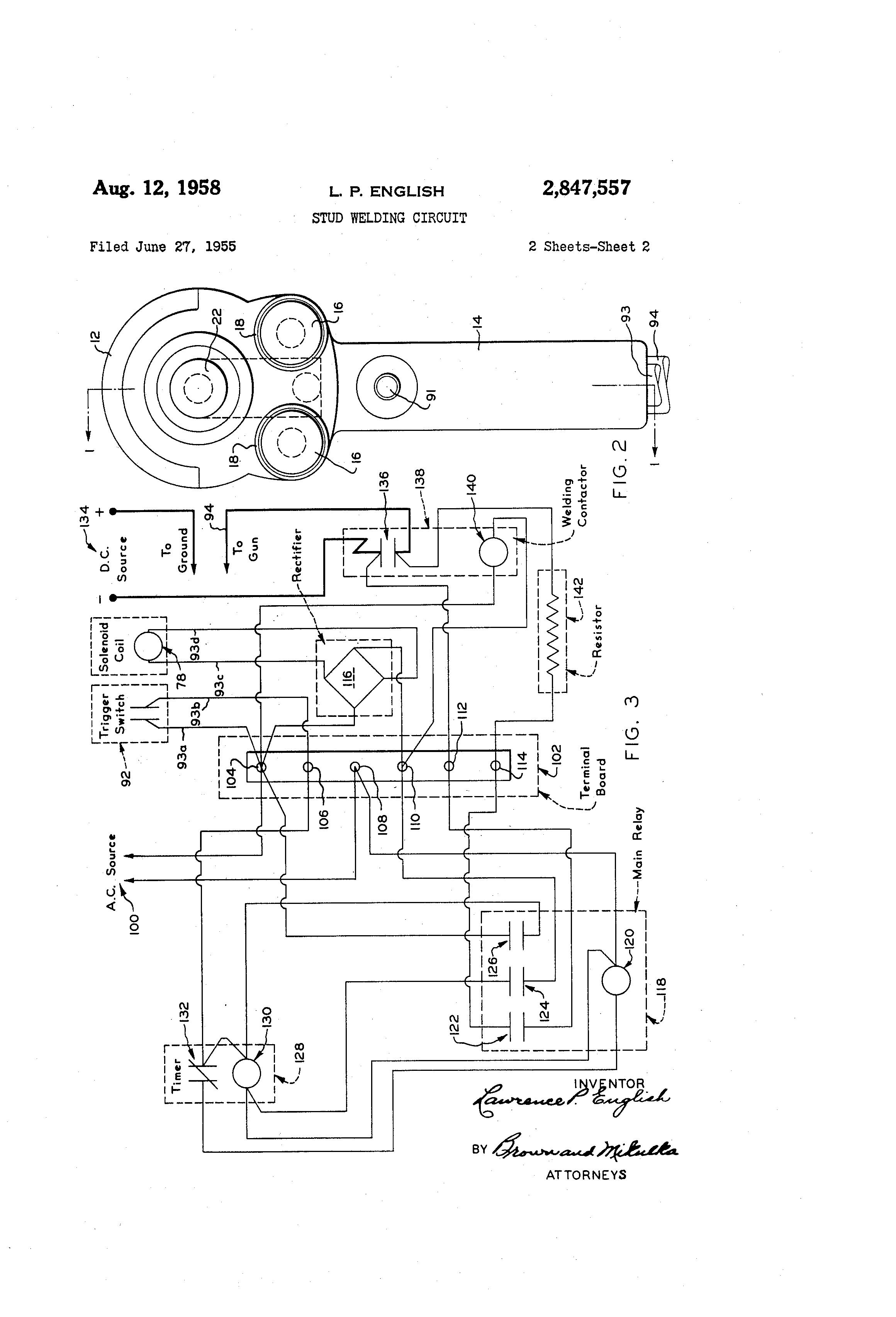 patent us2847557 - stud welding circuit