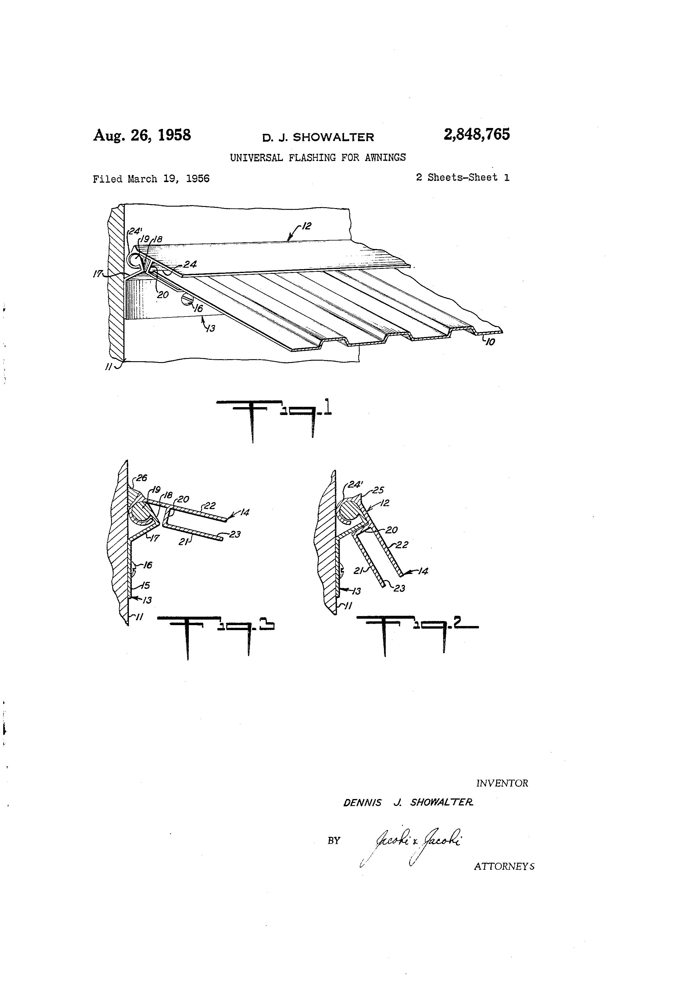 Patent US2848765 - Universal flashing for awnings - Google ...