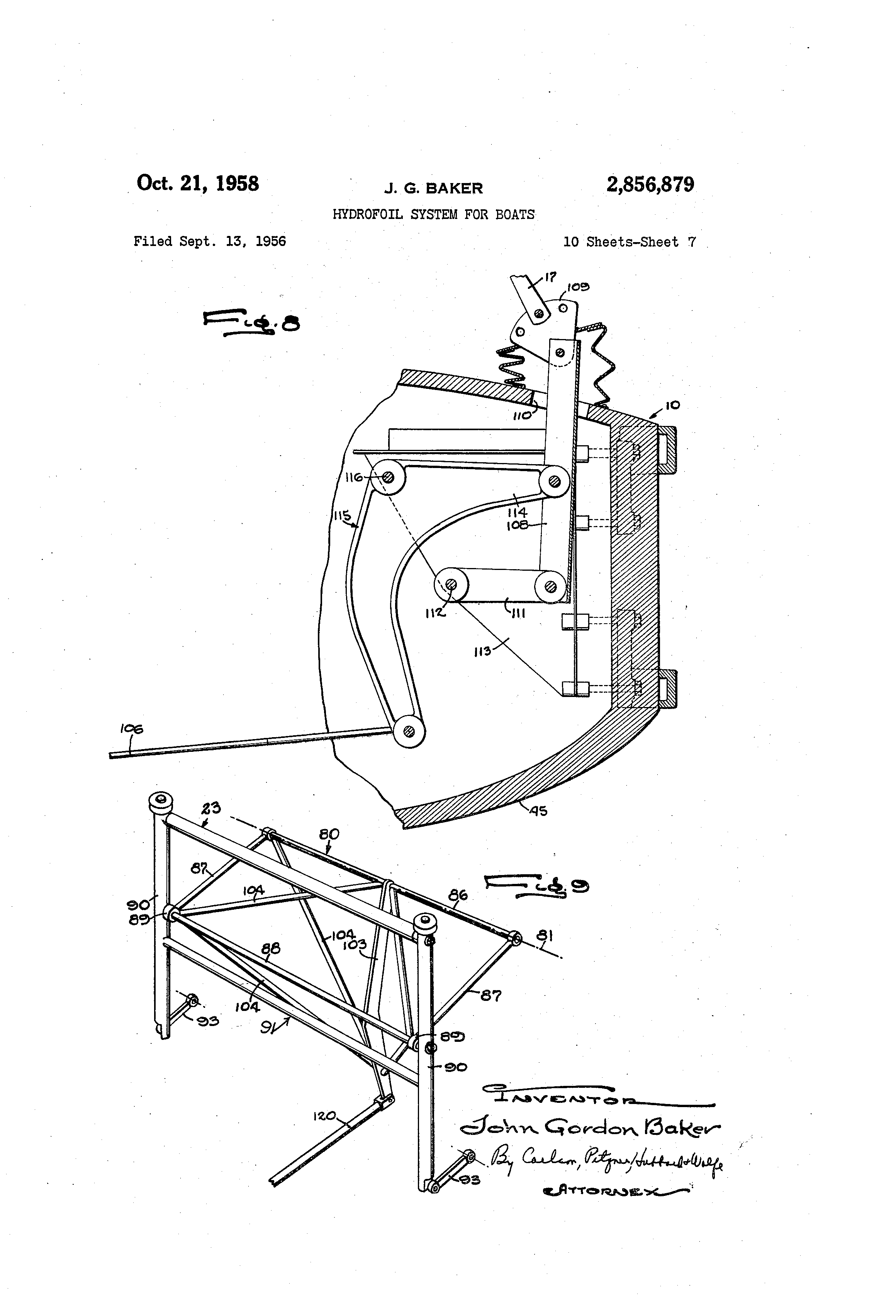 patent us2856879 hydrofoil system for boats google patents