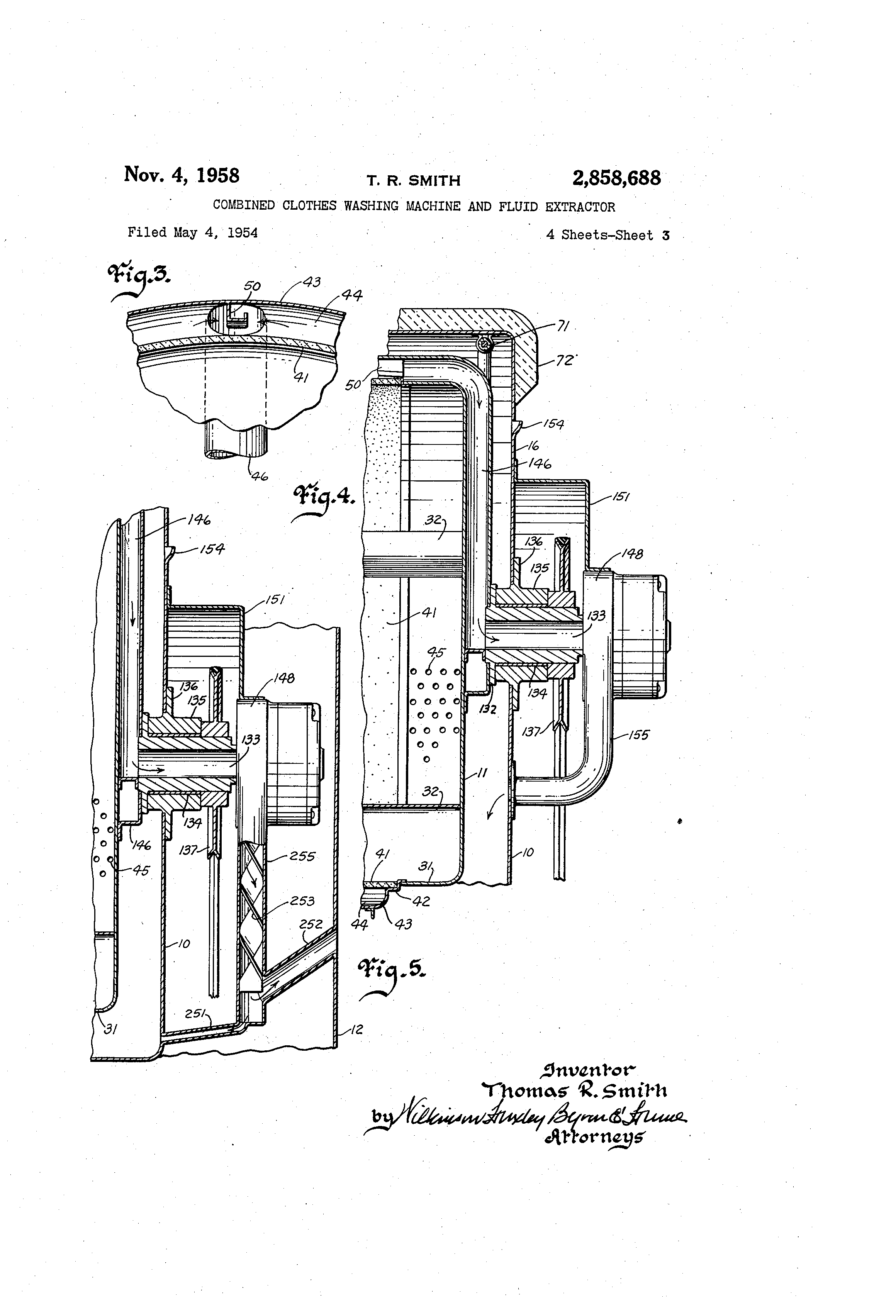 Patent US2858688 Combined clothes washing machine and fluid