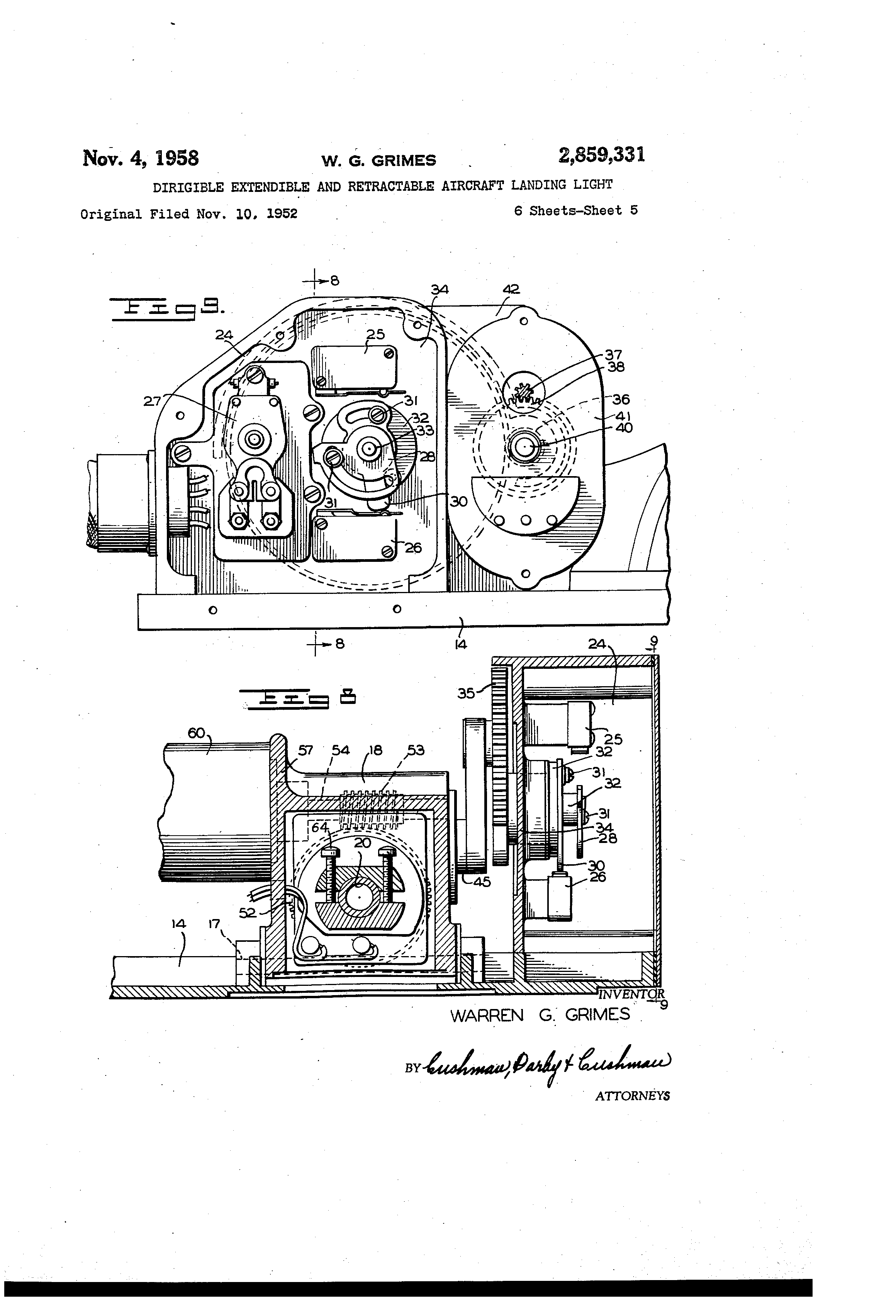 patent us2859331 - dirigible extendible and retractable aircraft landing light