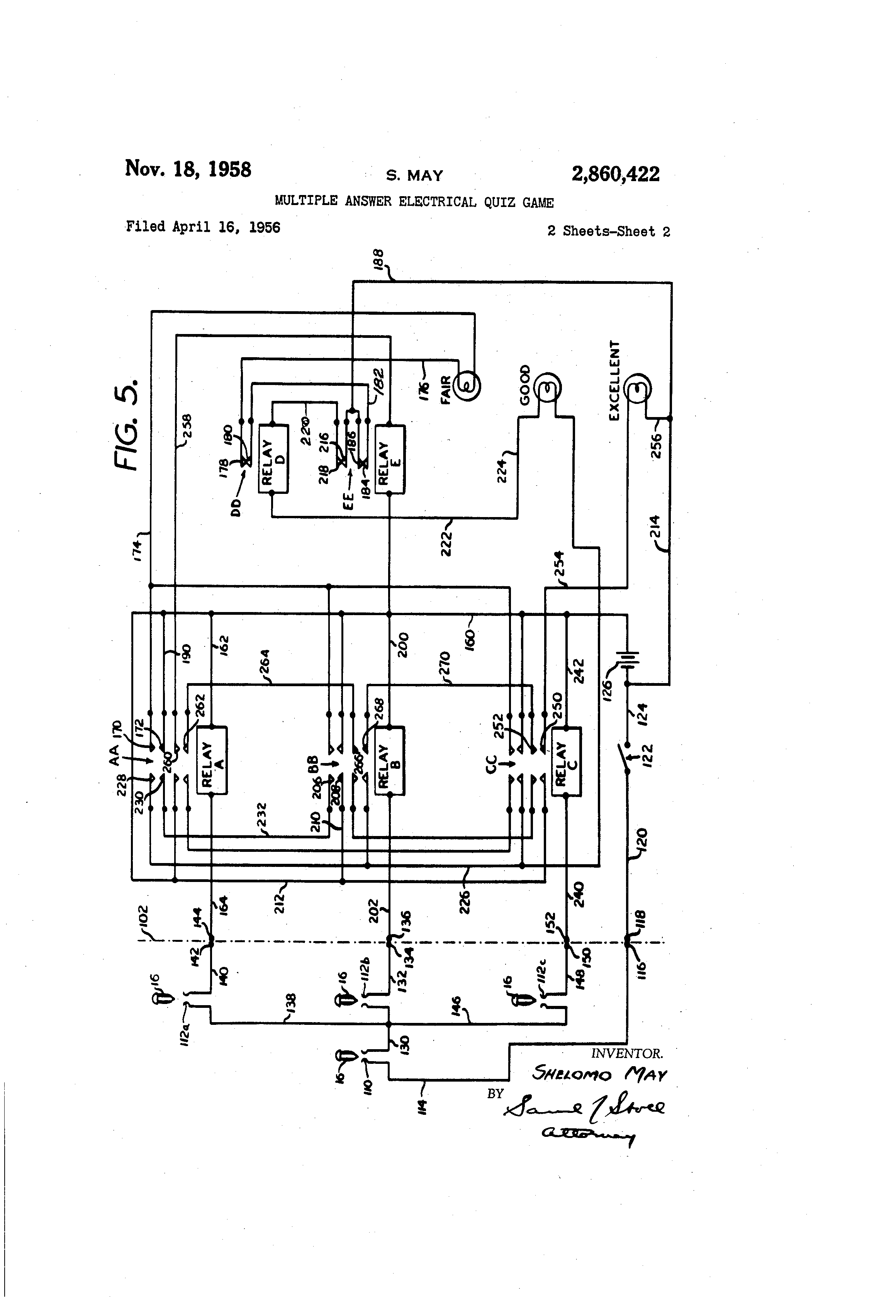Patent Us2860422 Multiple Answer Electrical Quiz Game Google Patents Player Buzzer Circuit Diagram Drawing