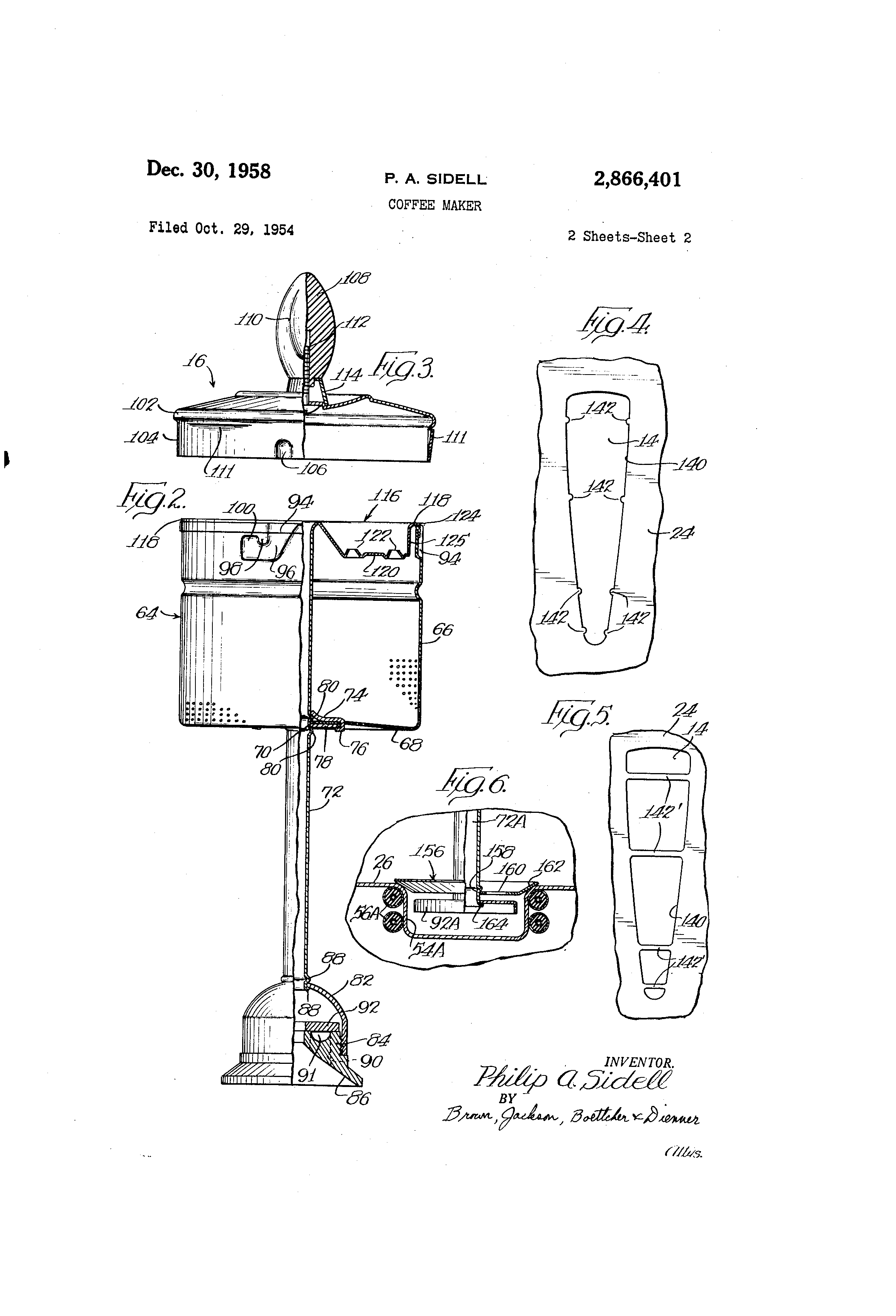 Patent Us2866401 Coffee Maker Google Patents Dome Lamp Wiring Diagram For 1935 36 Fisher Drawing