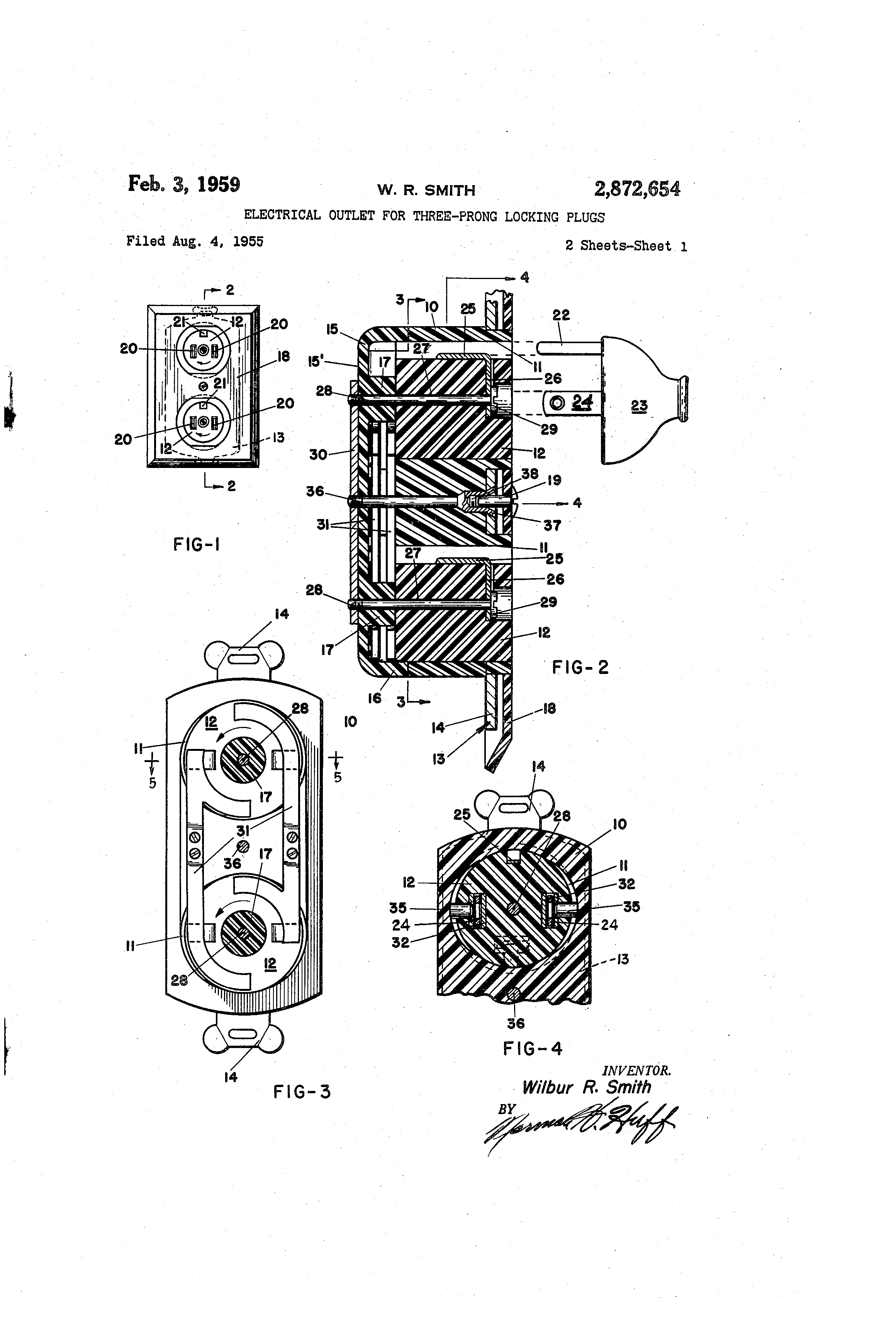 Patent Us2872654 Electrical Outlet For Three Prong