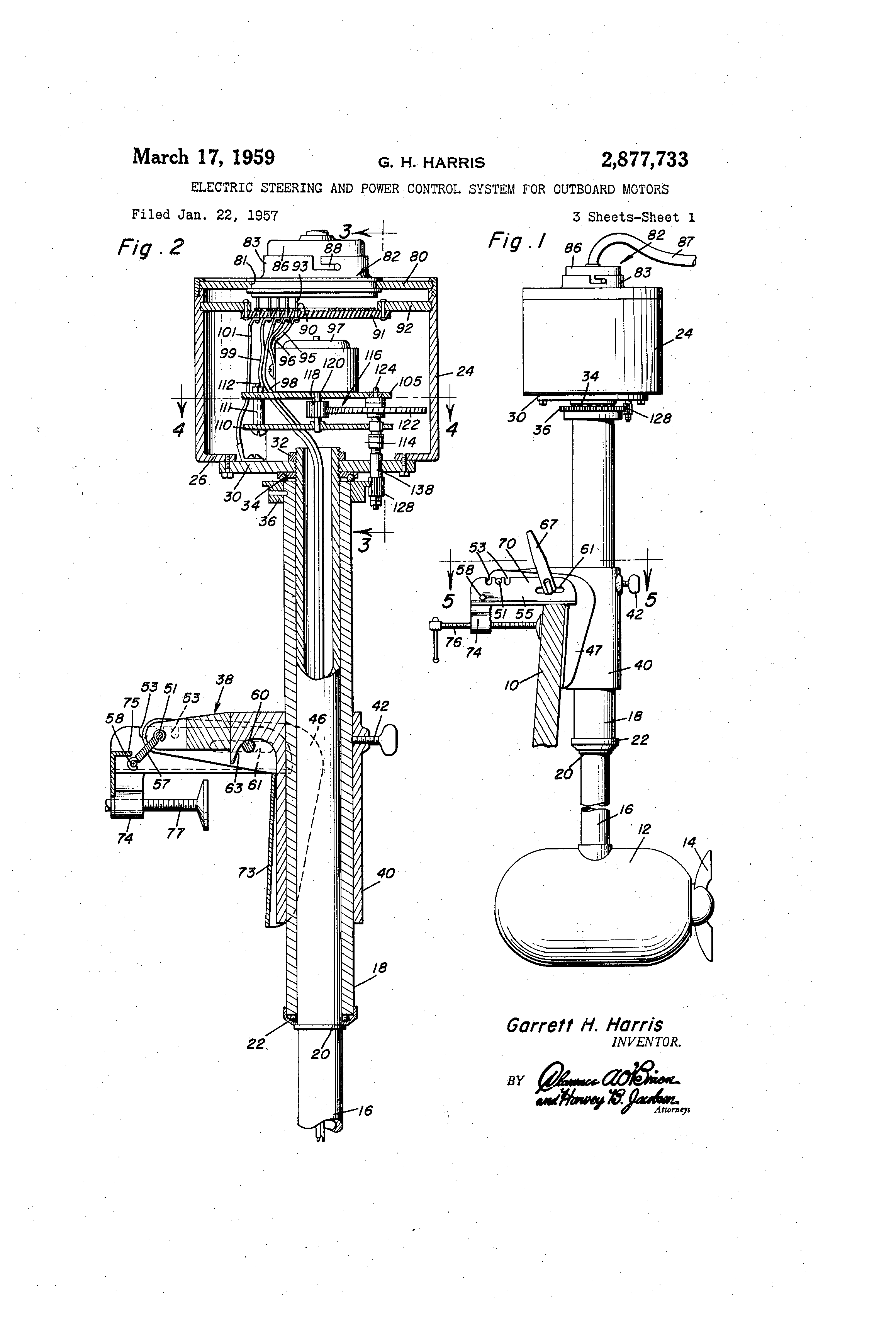 Patent Us2877733 Electric Steering And Power Control