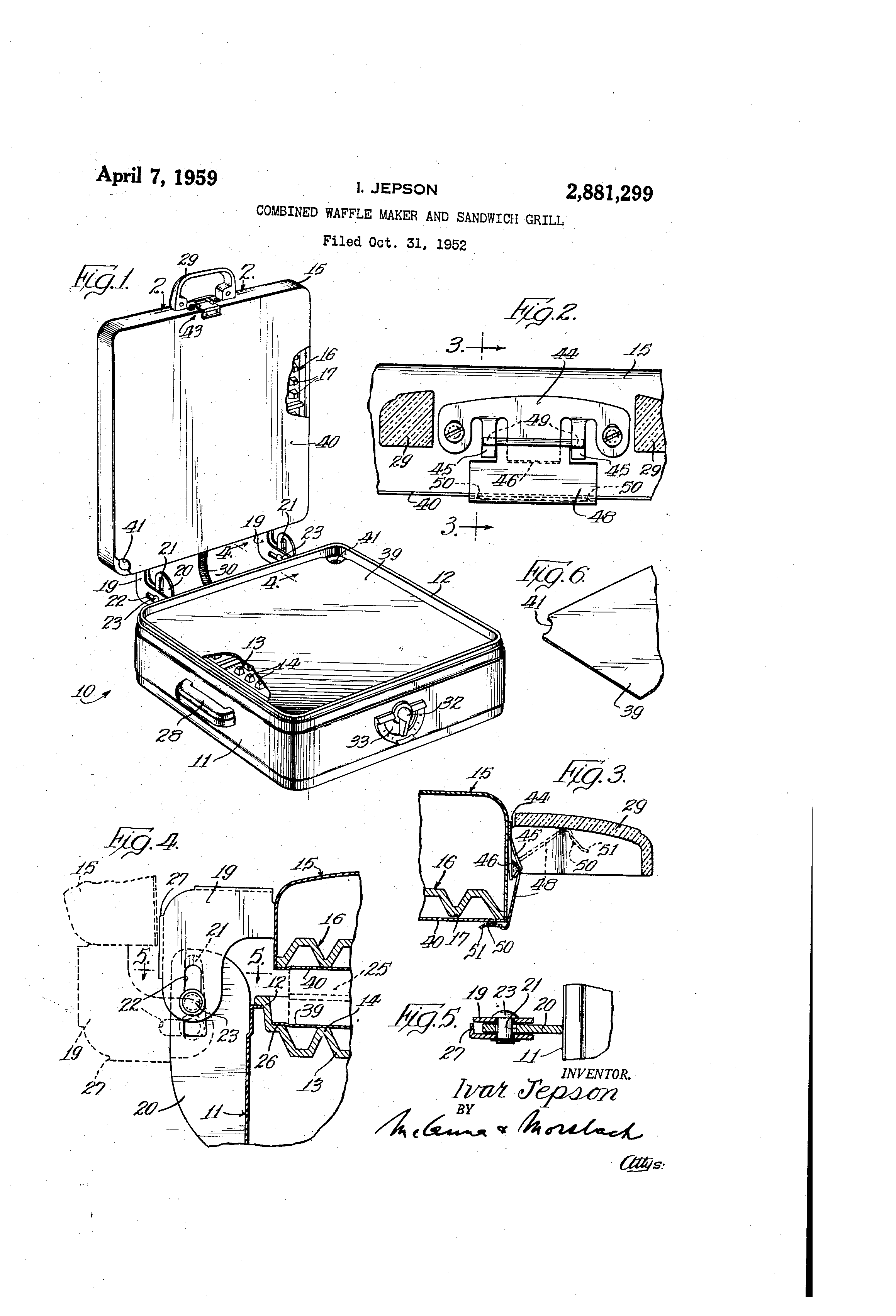 patent us2881299 - combined waffle maker and sandwich grill