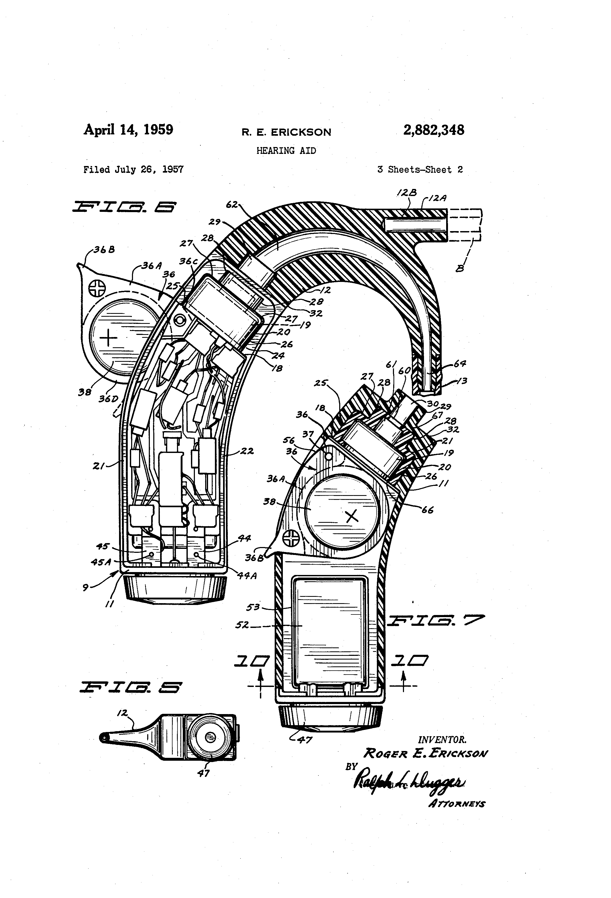 patent us2882348 - hearing aid
