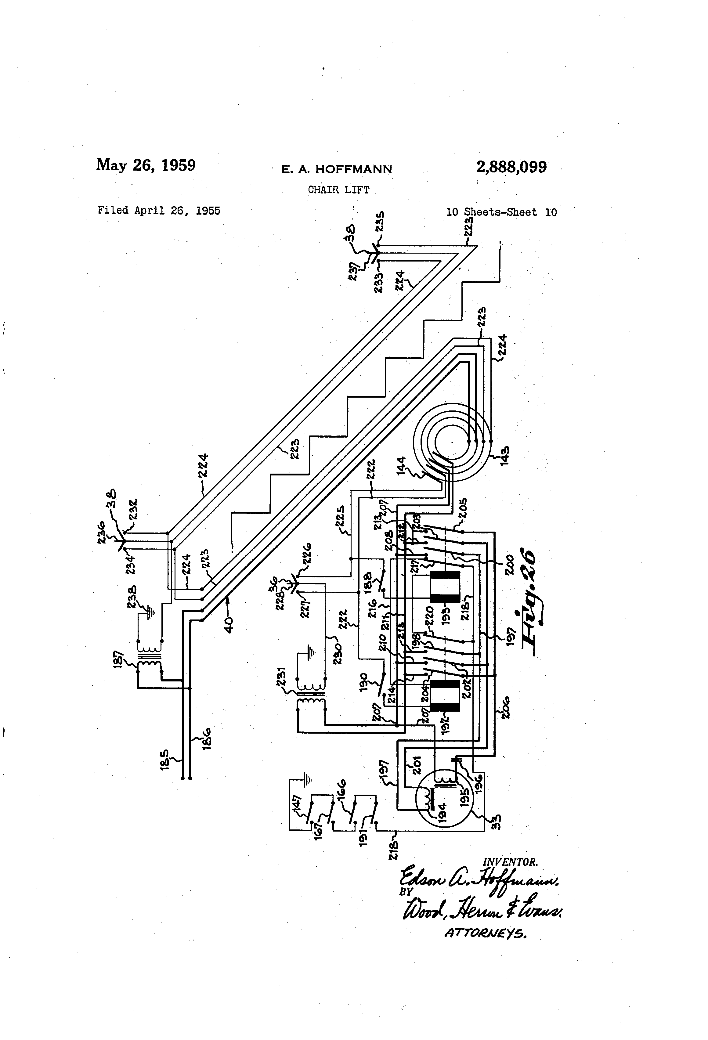 US2888099 9 patent us2888099 chair lift google patents stannah stair lift wiring diagram at crackthecode.co