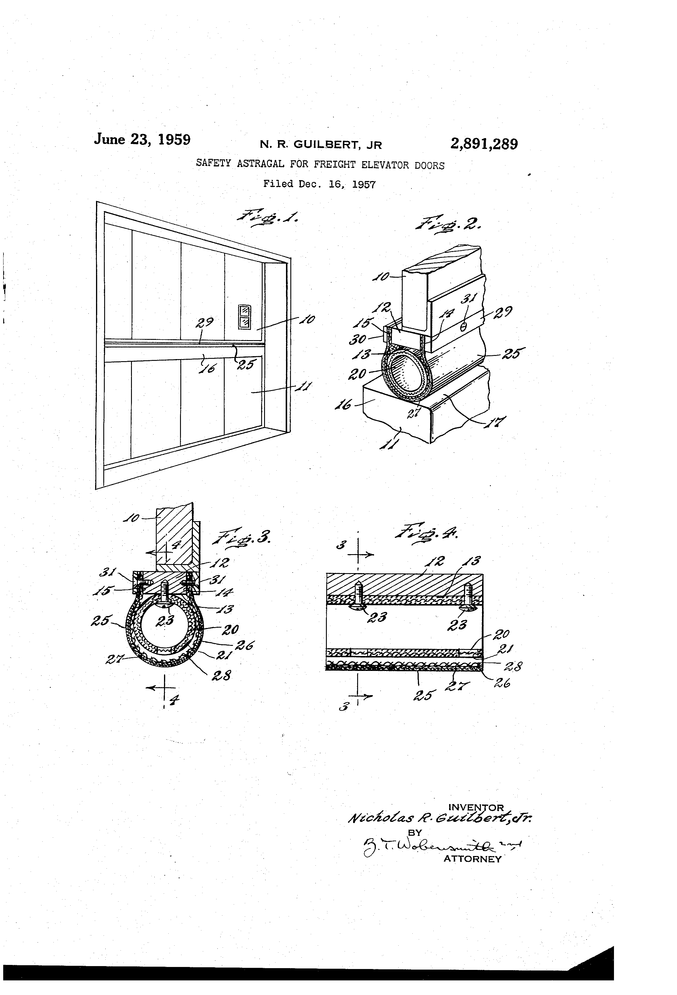 Patent Drawing  sc 1 st  Google & Patent US2891289 - Safety astragal for freight elevator doors ... pezcame.com