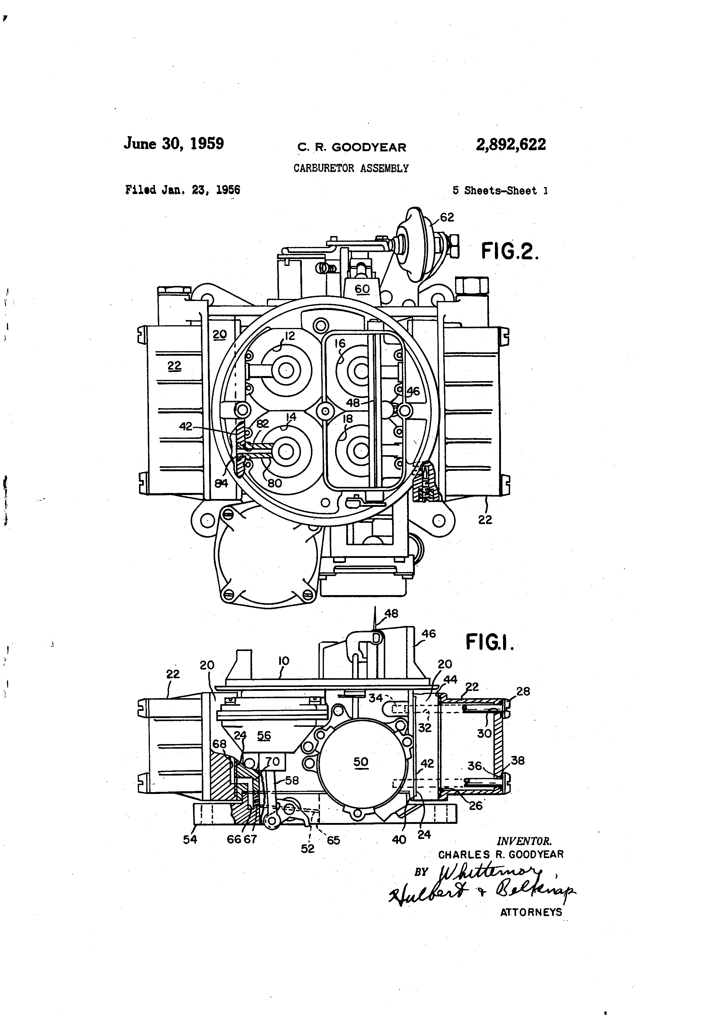 Patent US2892622 - Carburetor assembly - Google Patents