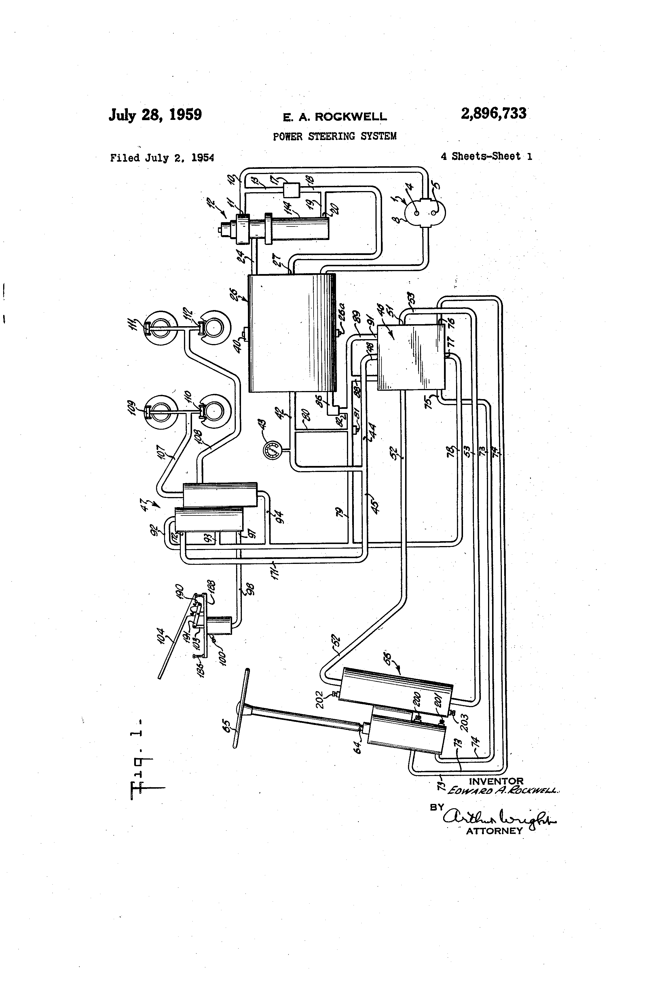 patent us2896733 - power steering system