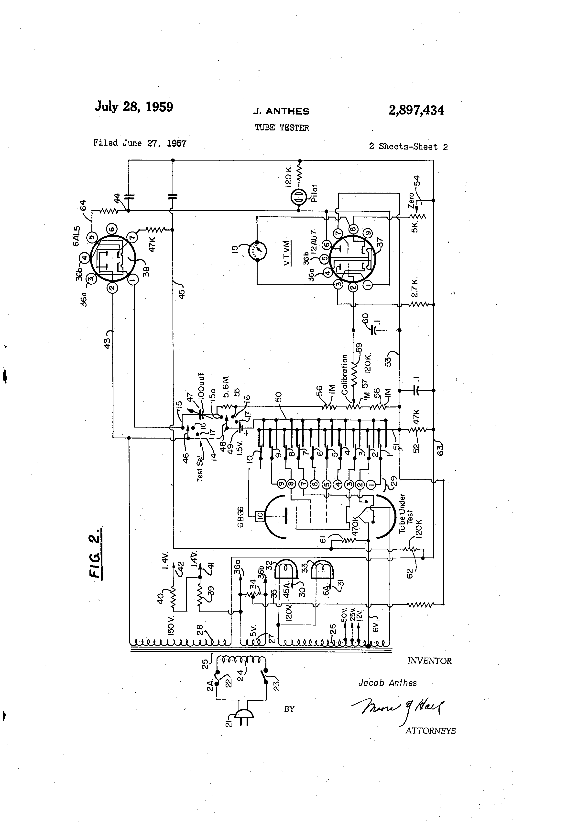 Us2897434a Tube Tester Google Patents Rectifier Schematic In Addition Analog Pid Controller Circuit