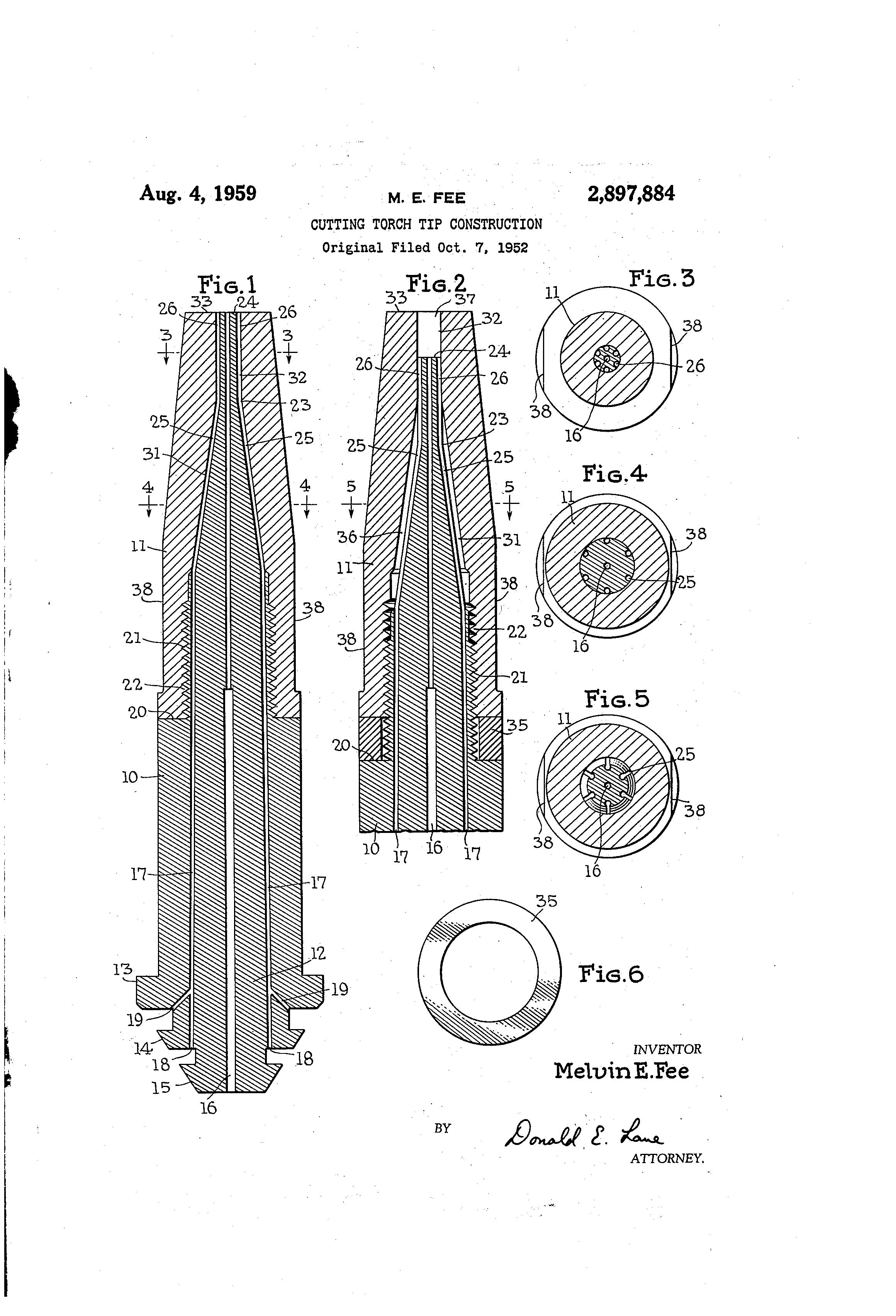 Patent Us2897884 - Cutting Torch Tip Construction