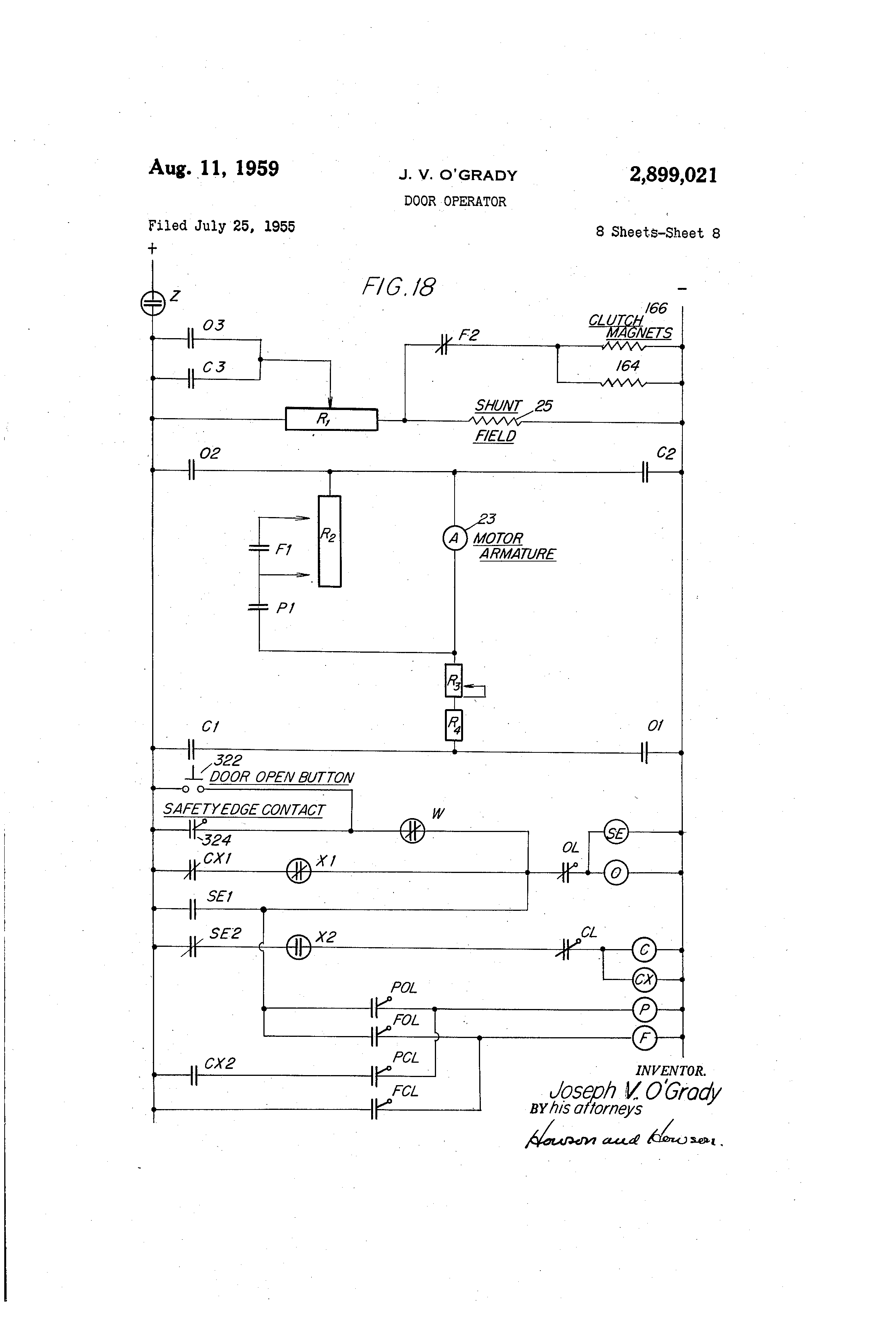 US2899021 7 patent us2899021 door operator google patents dover elevator wiring diagrams at fashall.co