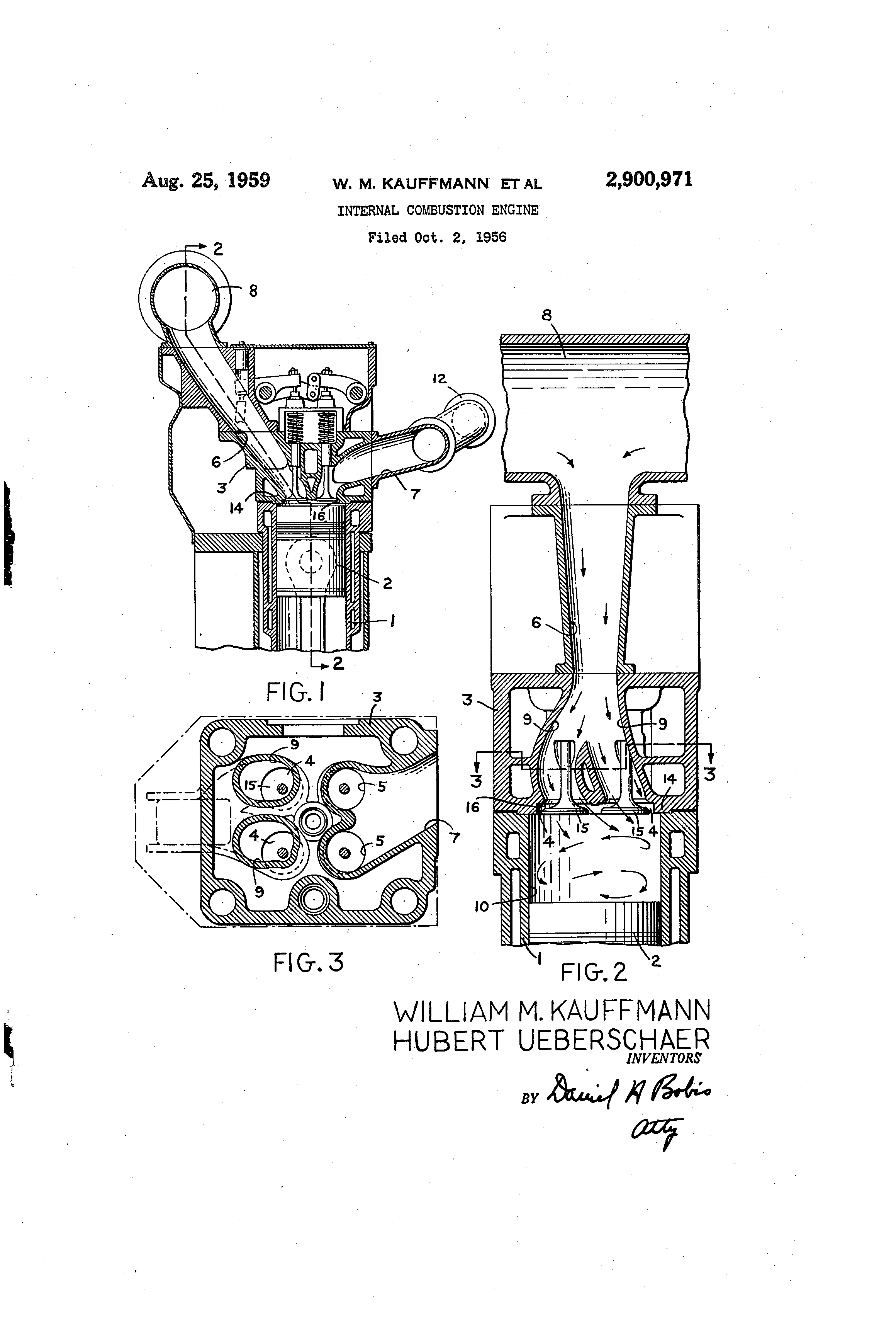 patent us2900971 internal bustion engine patents Internal Combustion Engine Model patent drawing