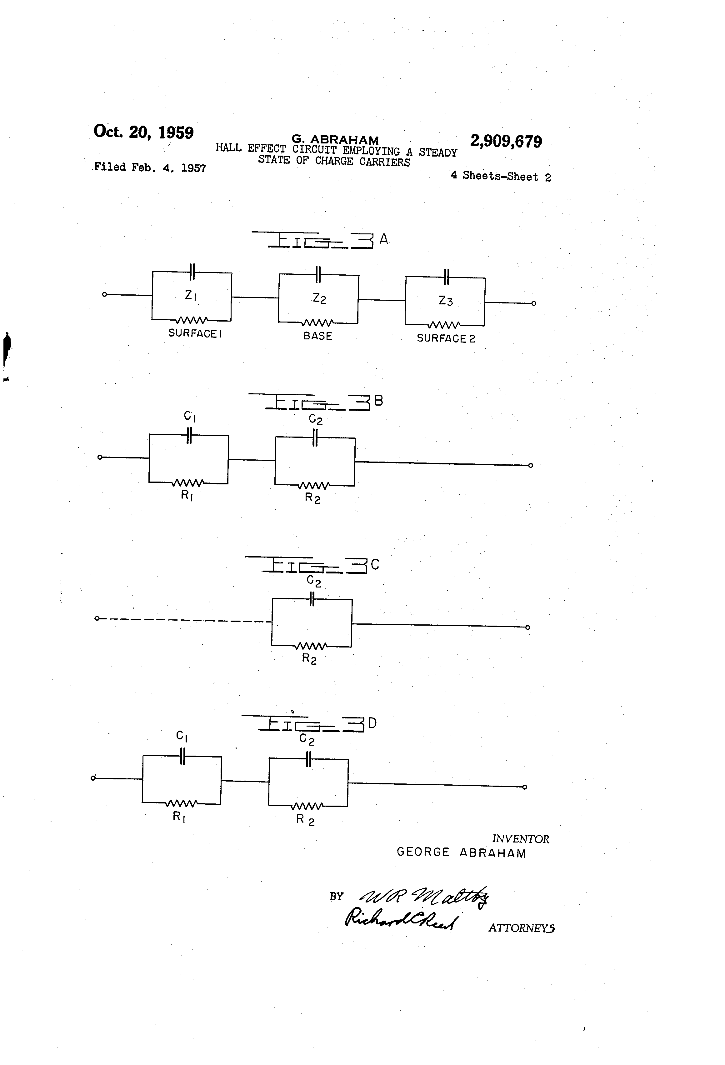 Patent Us2909679 Hall Effect Circuit Employing A Steady State Of Circuits Drawing