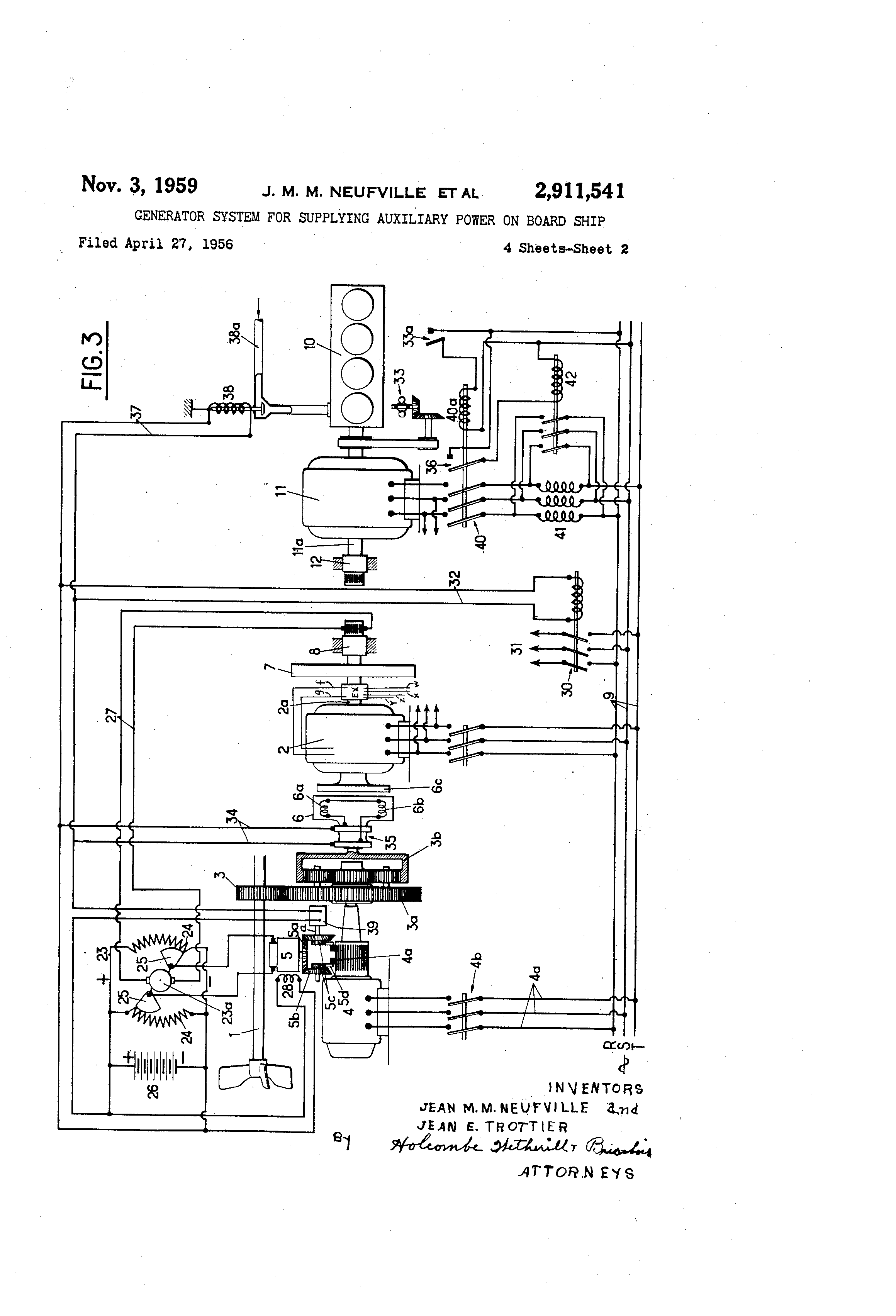 patent us2911541 - generator system for supplying auxiliary power on board ship