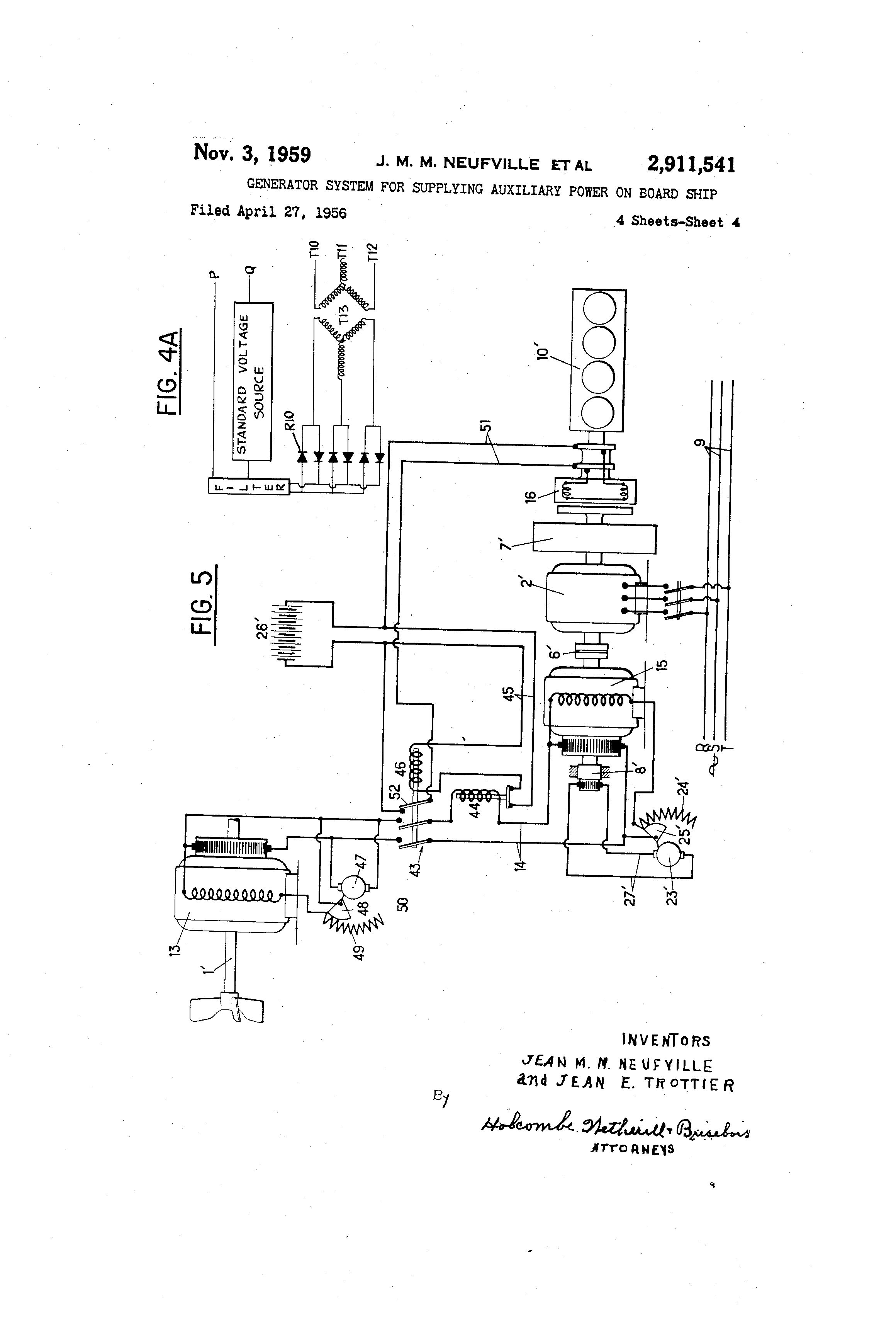 US2911541 3 patent us2911541 generator system for supplying auxiliary power leroy somer alternator wiring diagram at pacquiaovsvargaslive.co