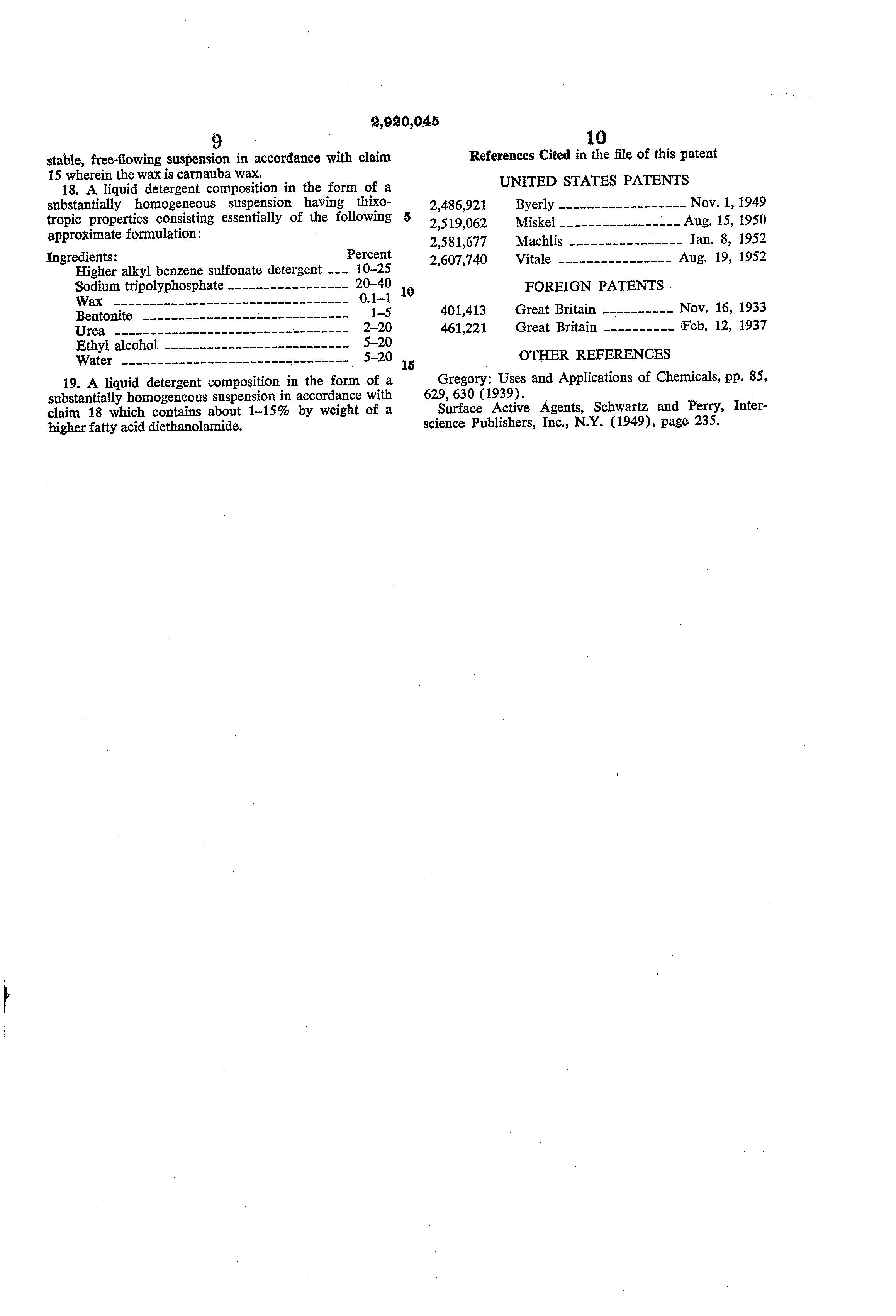 Patent US2920045 - Heavy duty liquid detergent compositions - Google