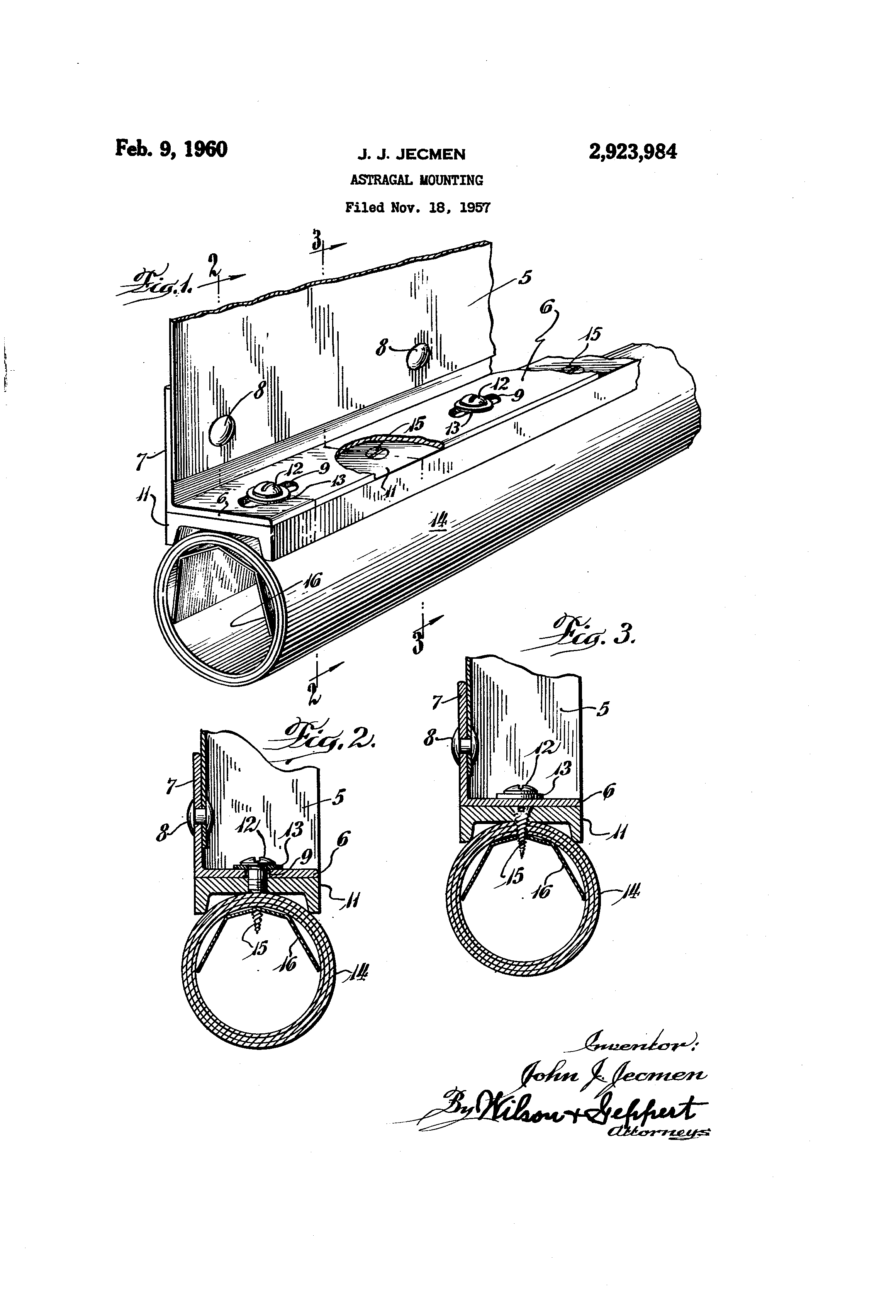 Patent Drawing  sc 1 st  Google & Patent US2923984 - Astragal mounting - Google Patents pezcame.com