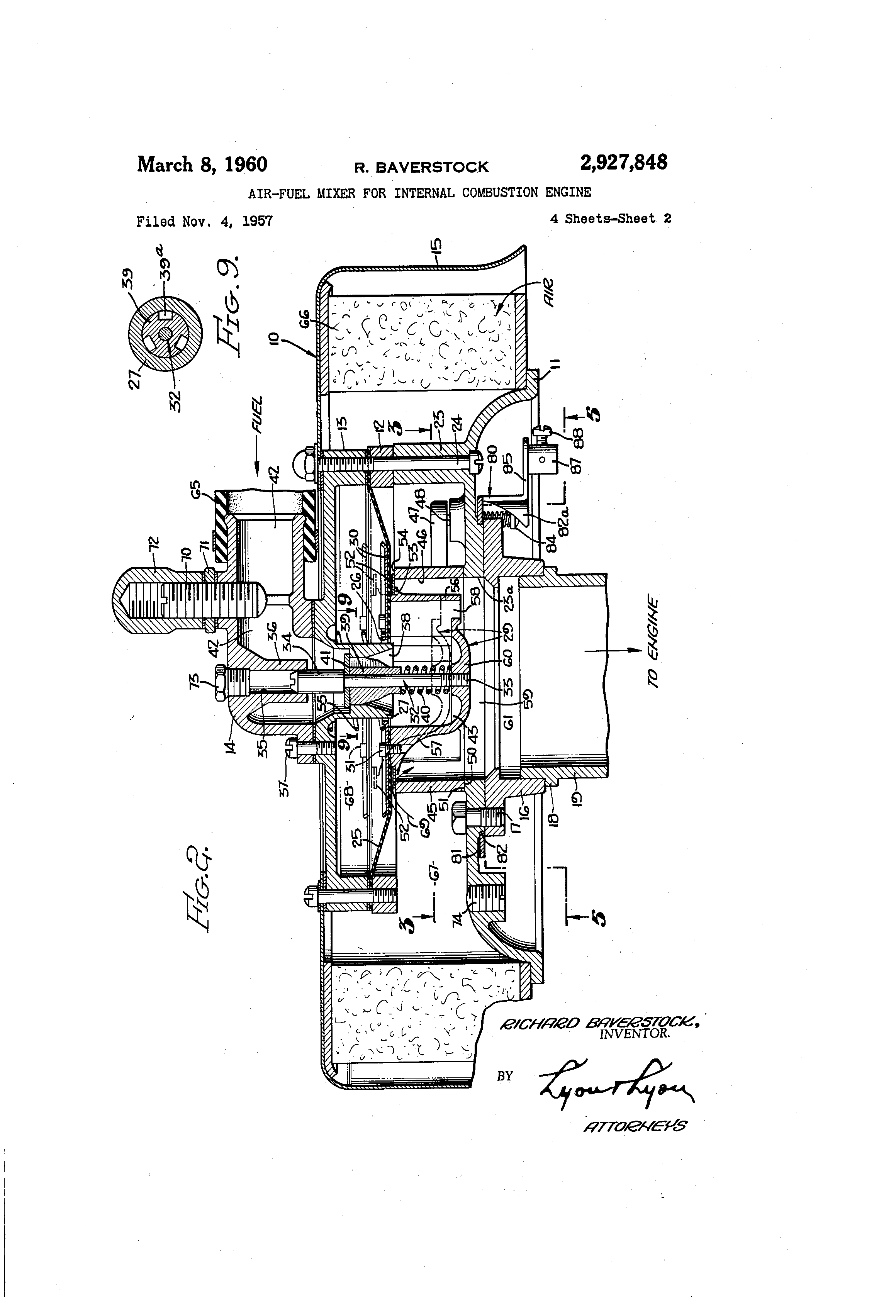 patent us2927848 - air-fuel mixer for internal combustion engine