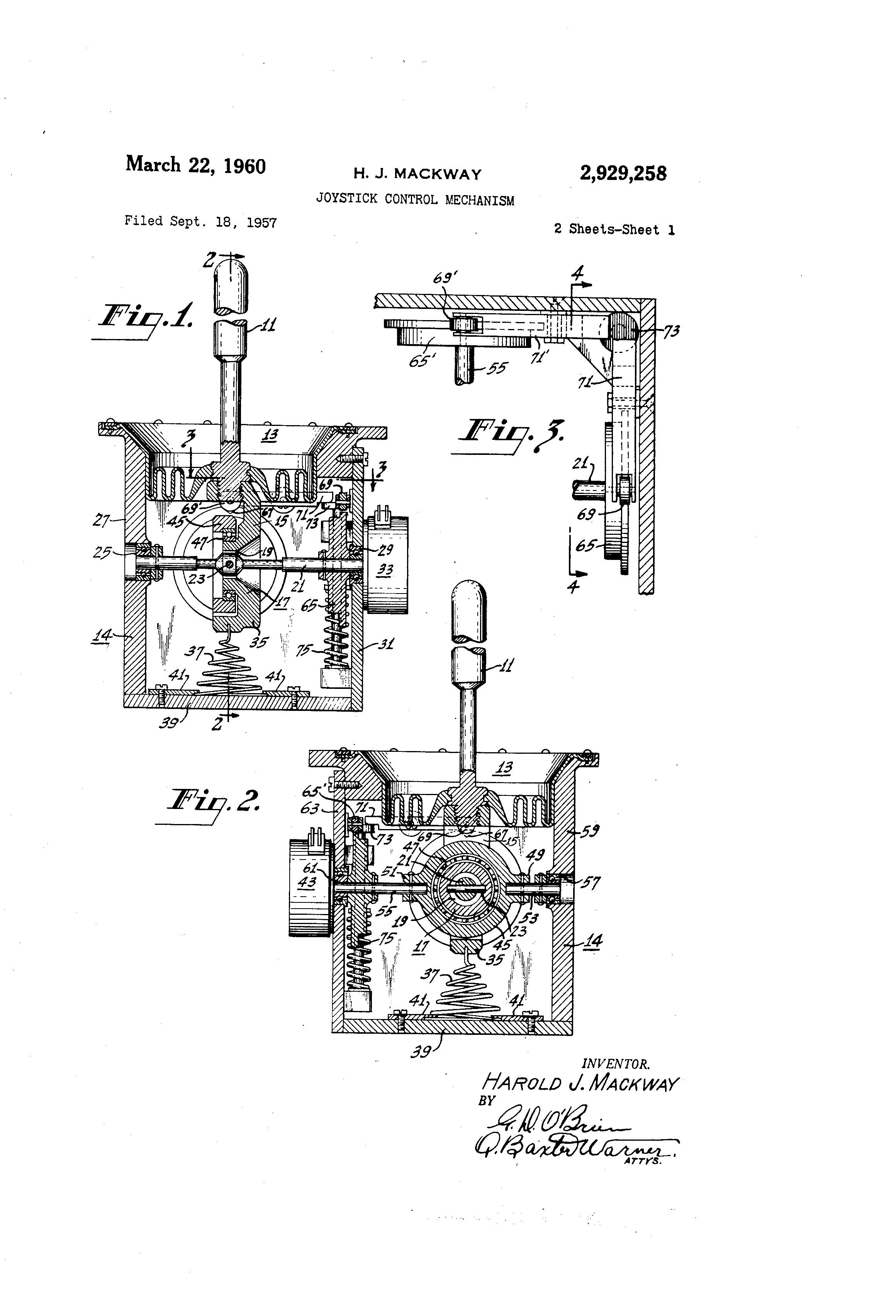 patent us2929258 - joystick control mechanism