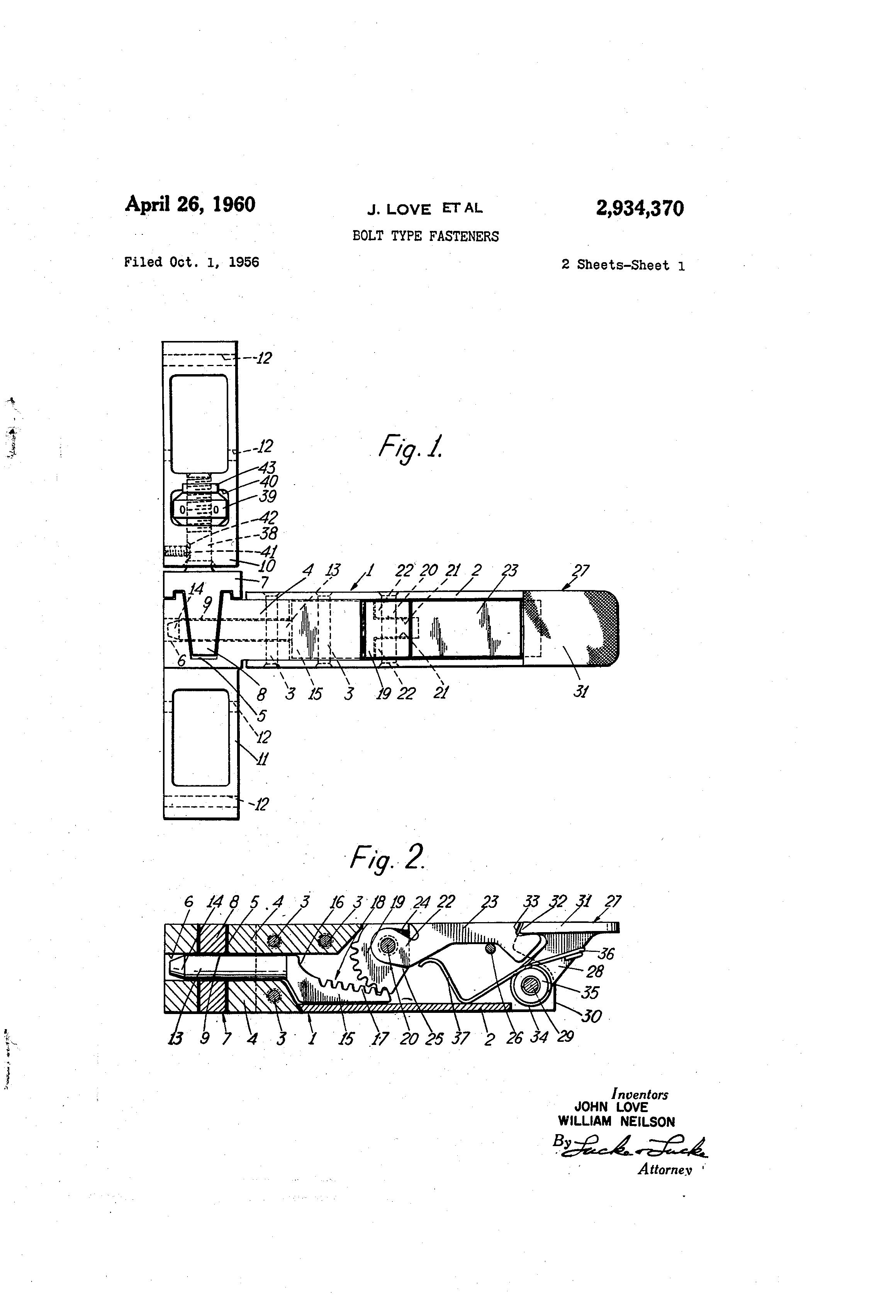 Patent US2934370 - Bolt type fasteners - Google Patents