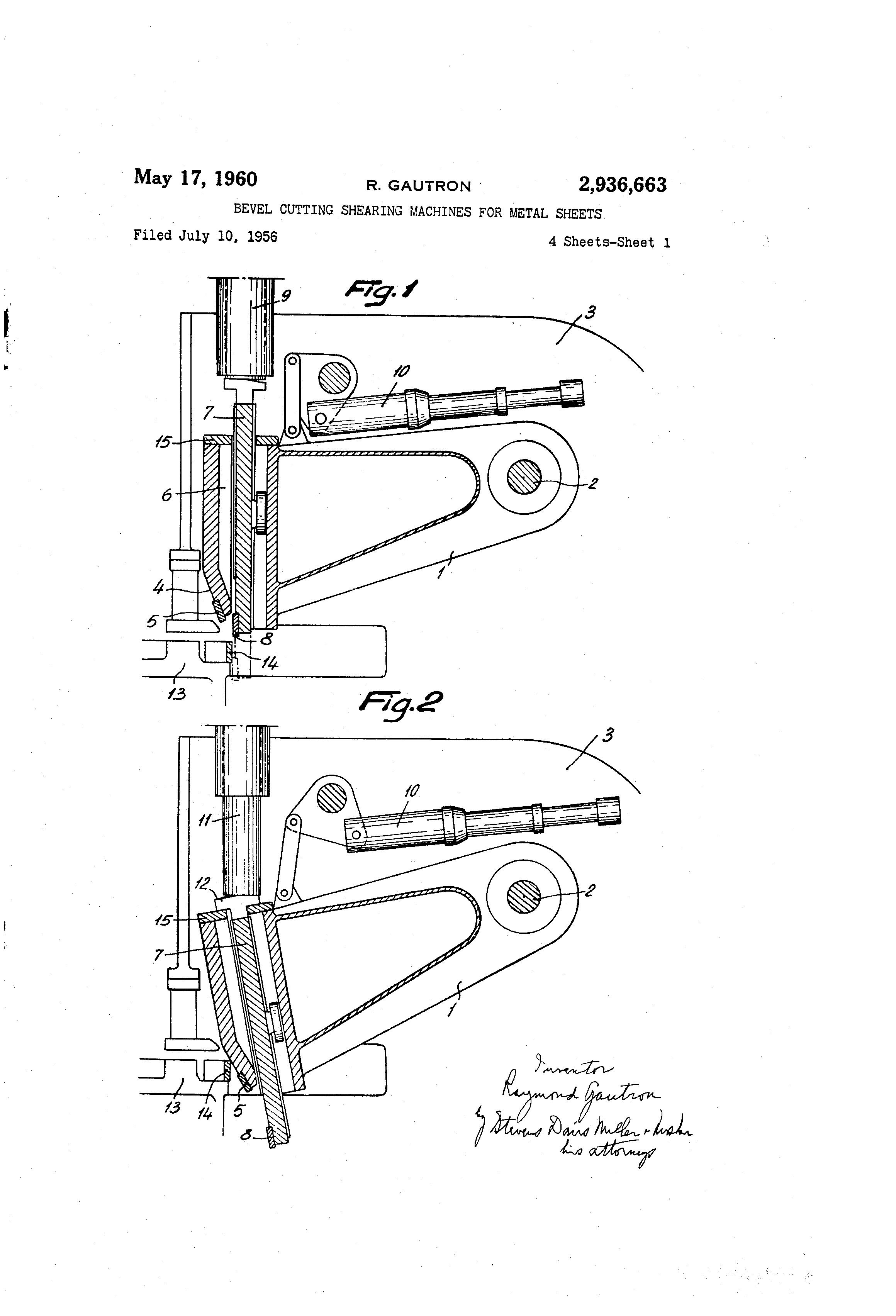 Patent US2936663 - Bevel cutting shearing machines for metal