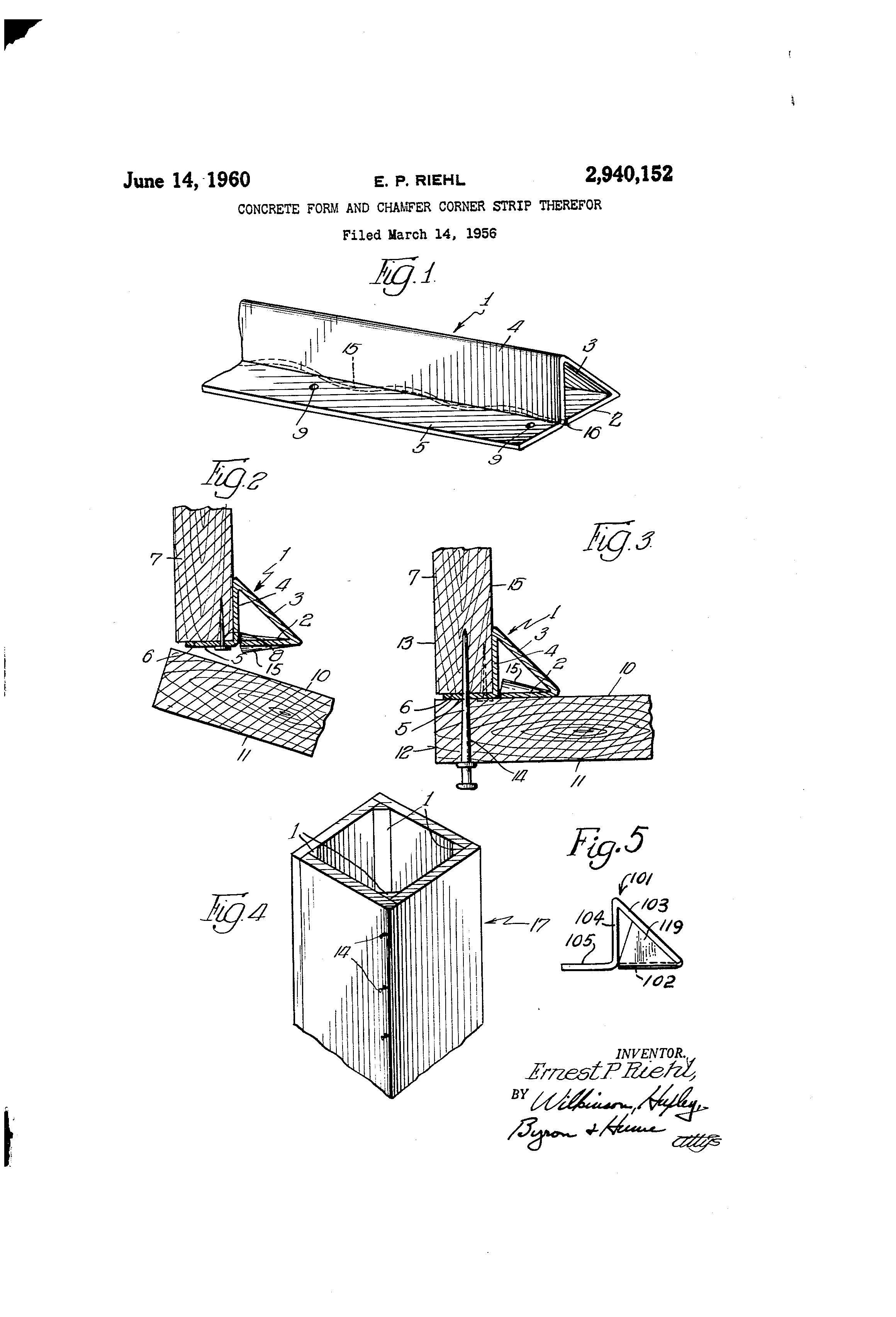 Patent Us2940152 Concrete Form And Chamfer Corner Strip