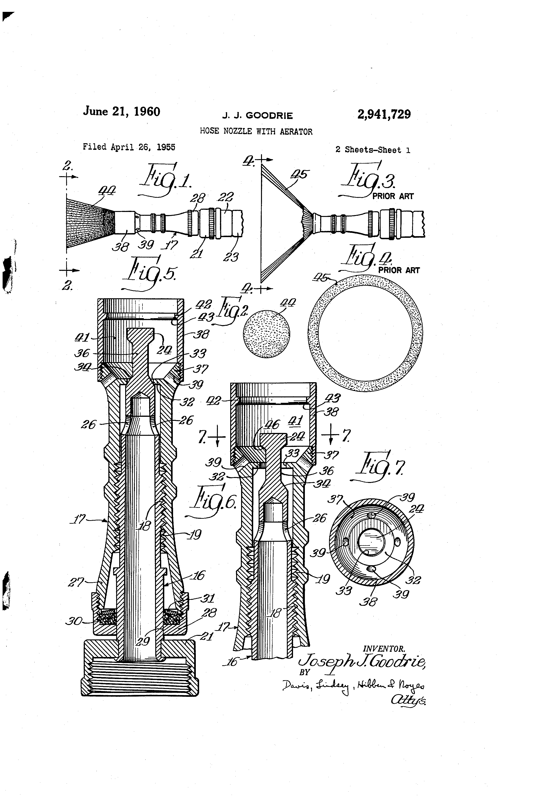 Patent US2941729 Hose nozzle with aerator Google Patents