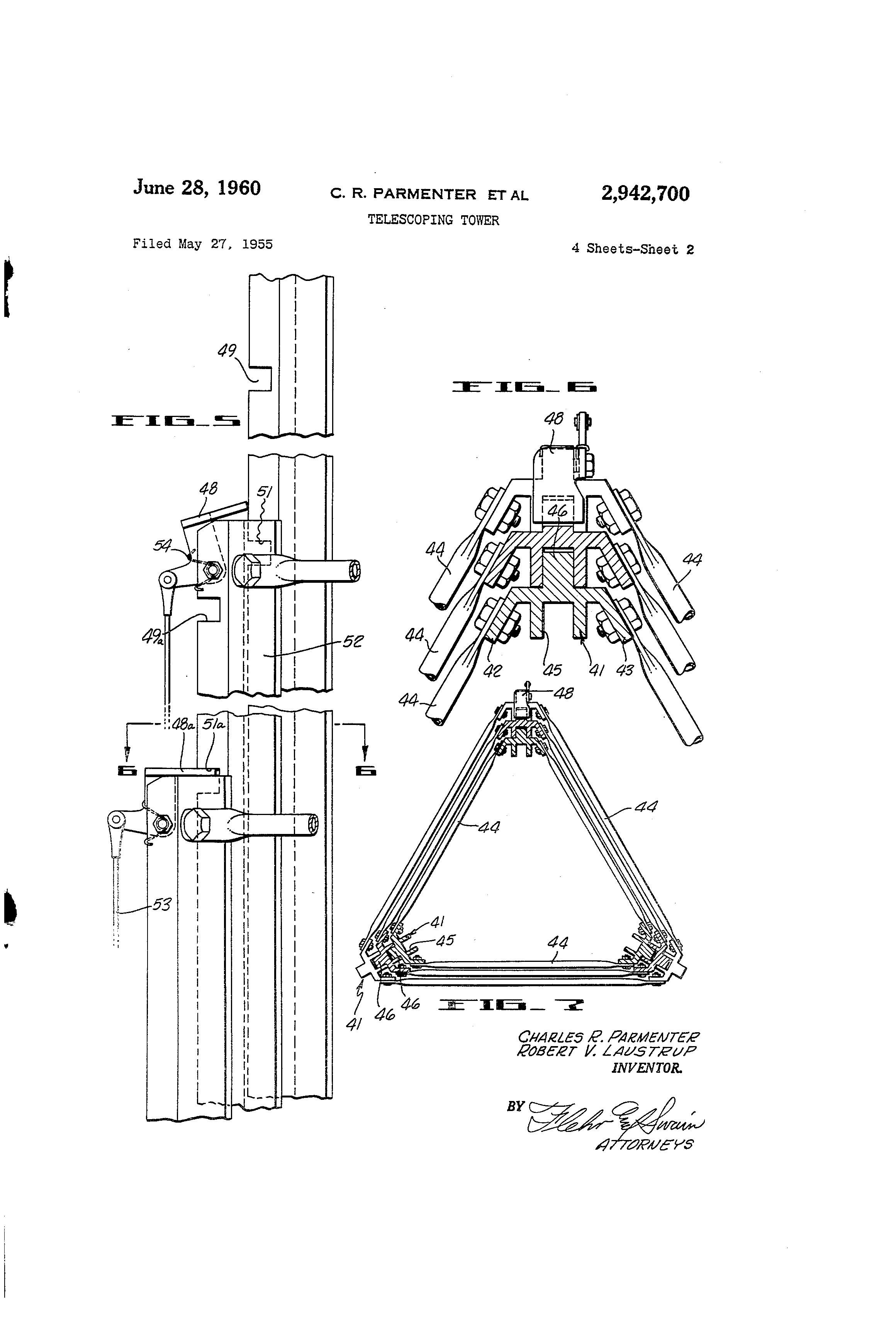 Patent US2942700 - Telescoping tower - Google Patents