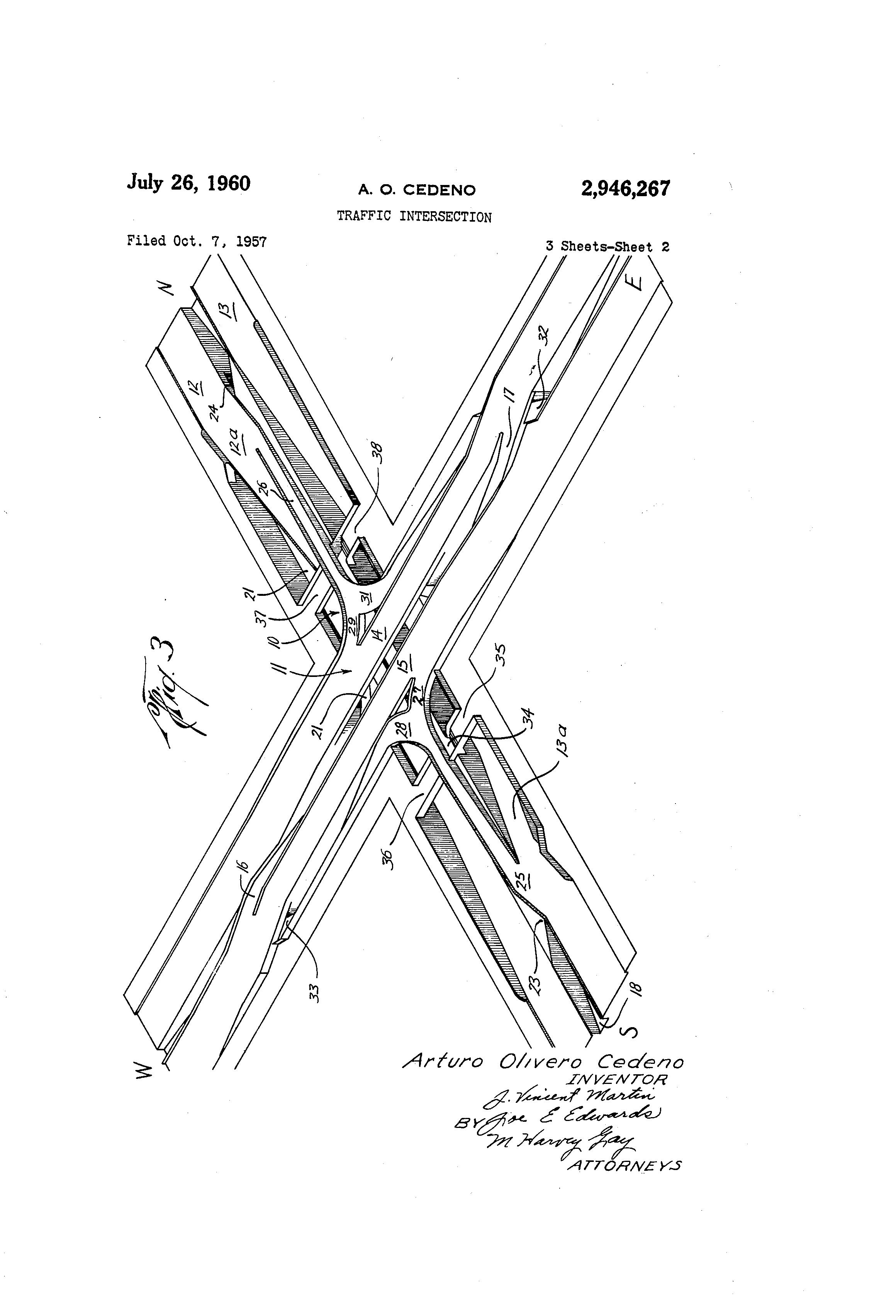 patent us2946267 - traffic intersection
