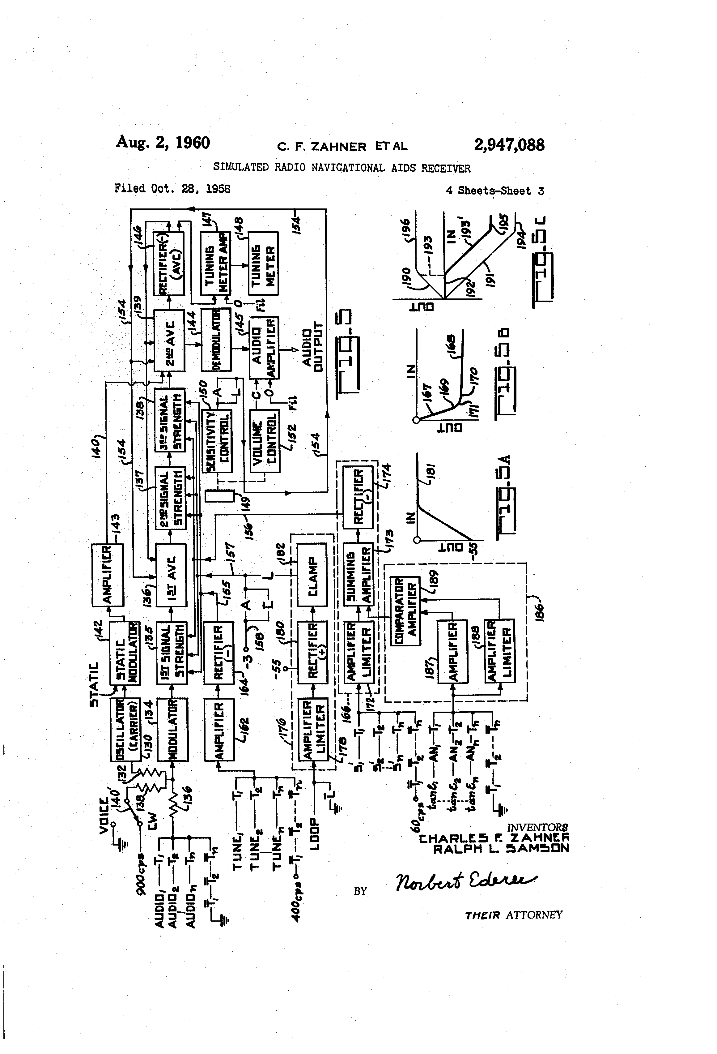 patent us2947088 - simulated radio navigational aids receiver