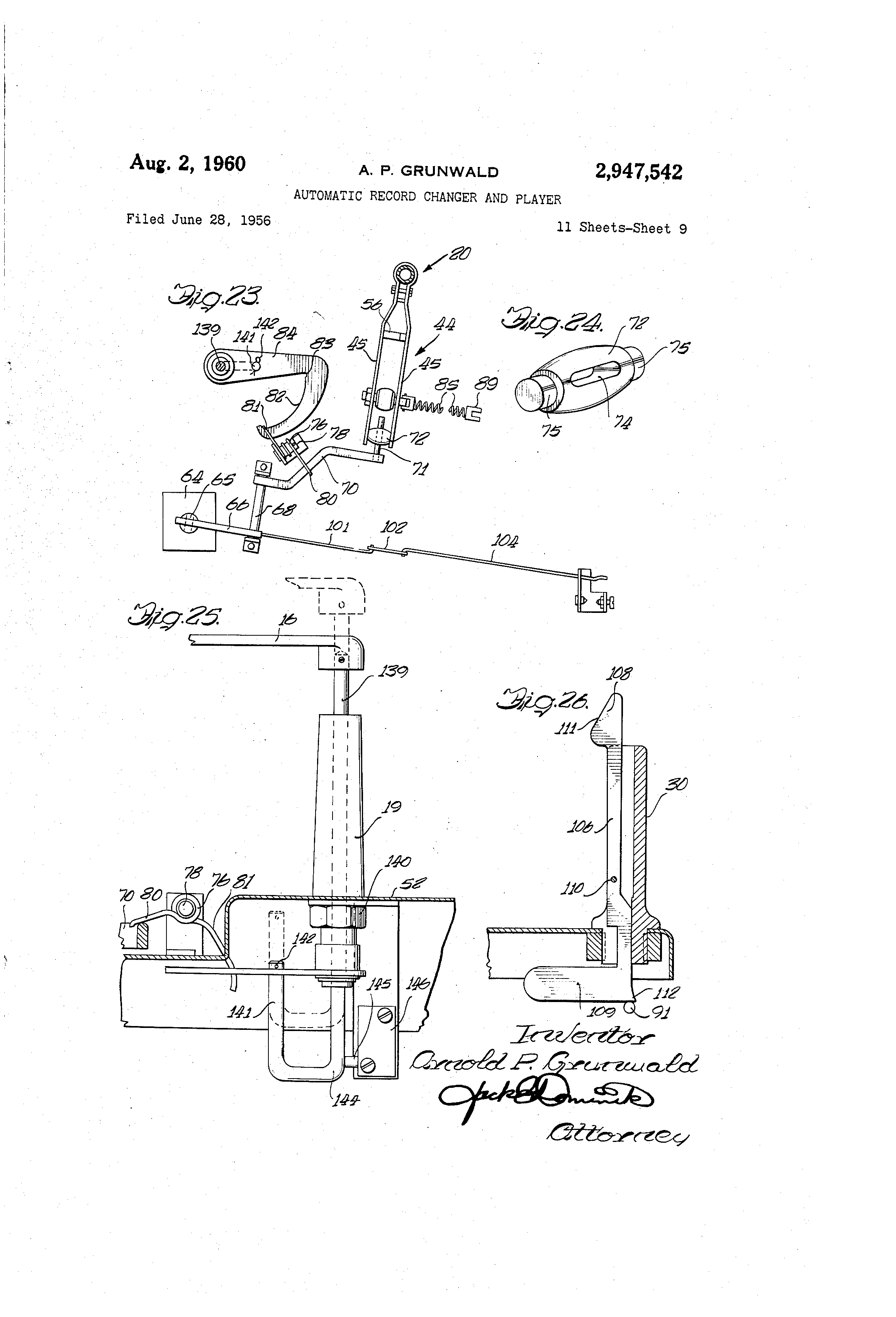Patent US2947542 - Automatic record changer and player ... on