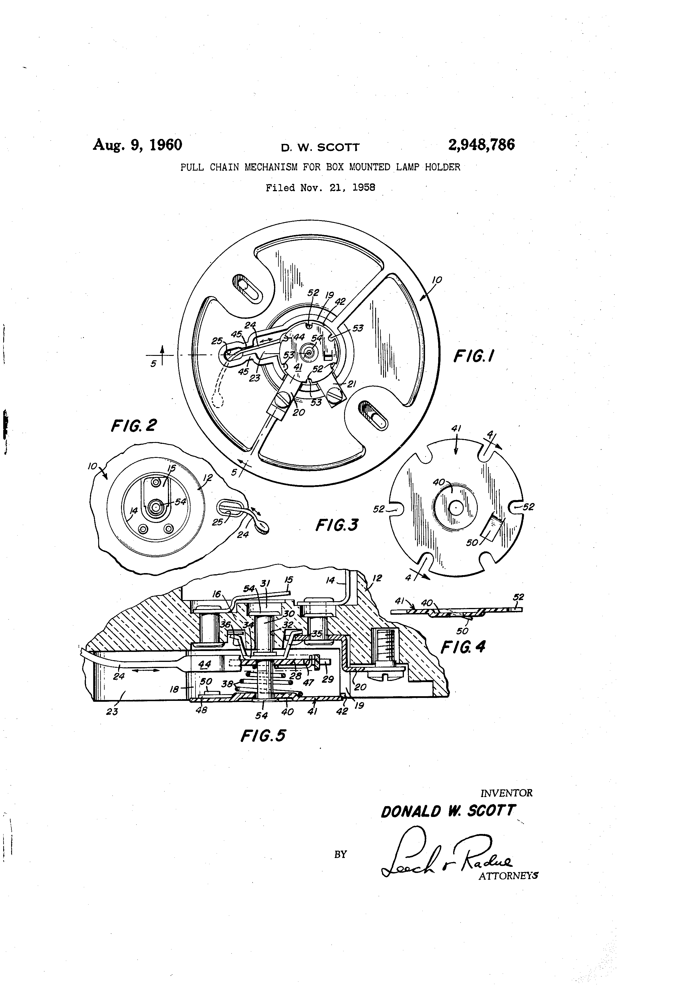patent us2948786 - pull chain mechanism for box mounted lamp holder