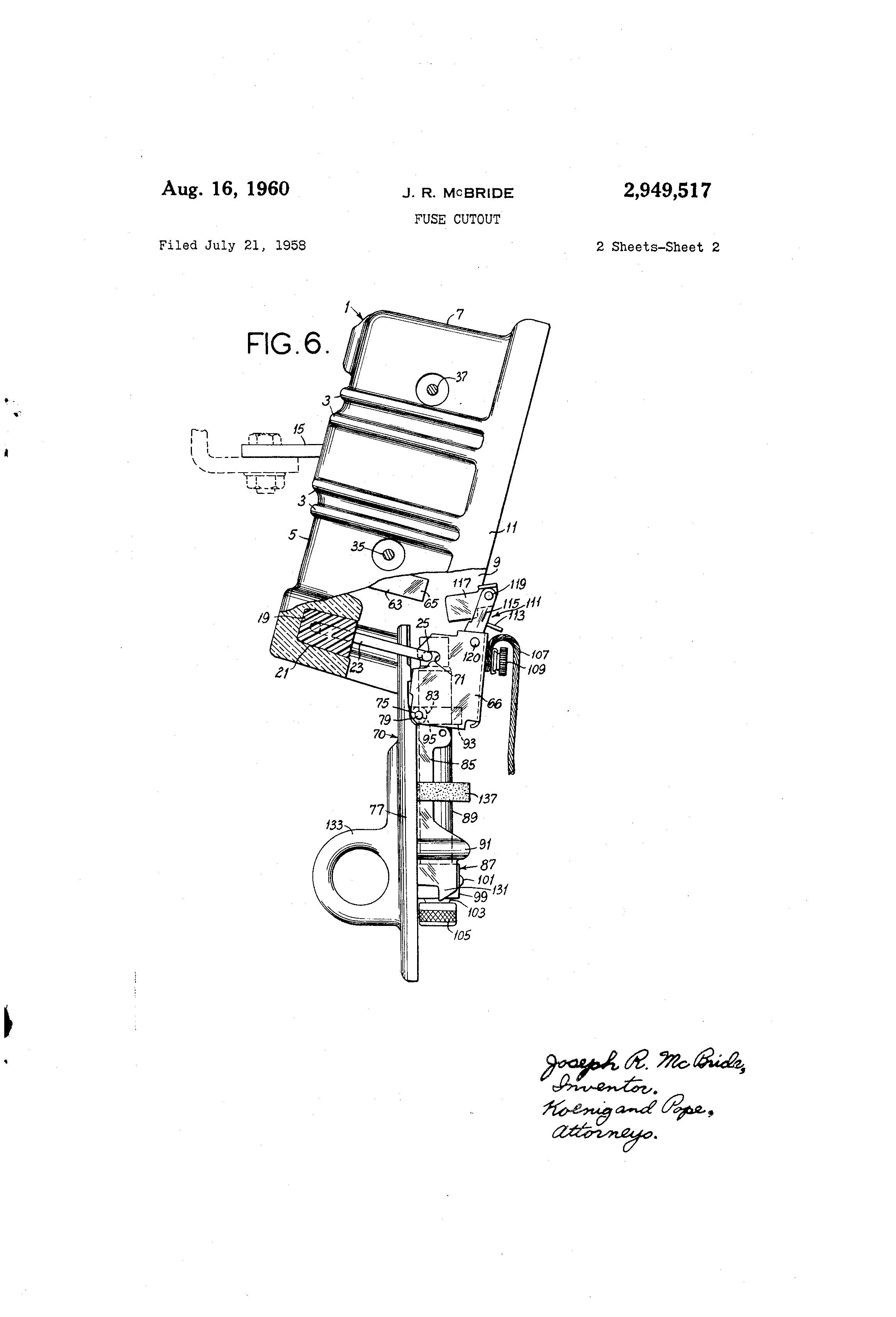 Patent US2949517 - Fuse cutout - Google Patents