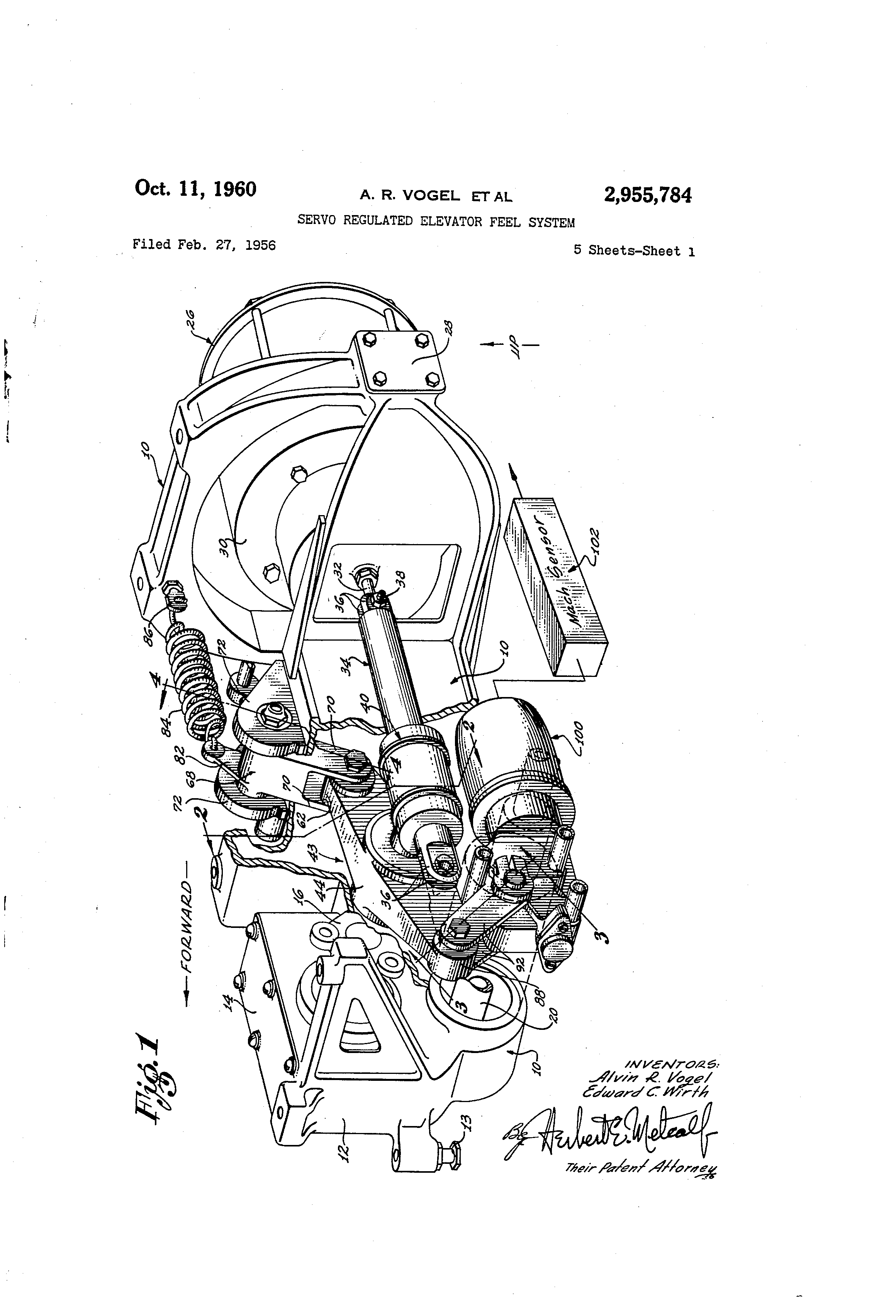 patent us2955784 servo regulated elevator feel system patents Motion RC patent drawing