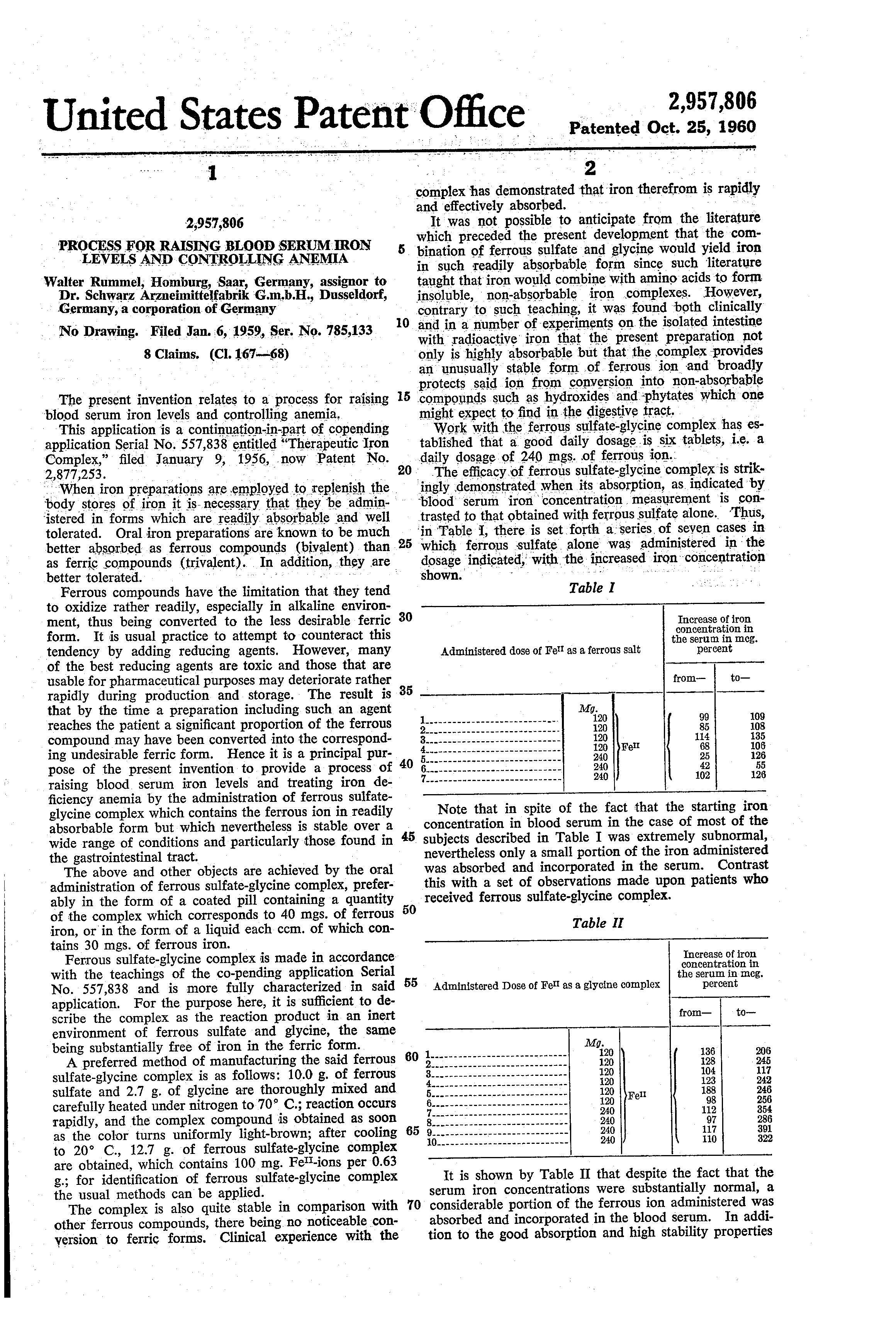 Patent US2957806 - Process for raising blood serum iron