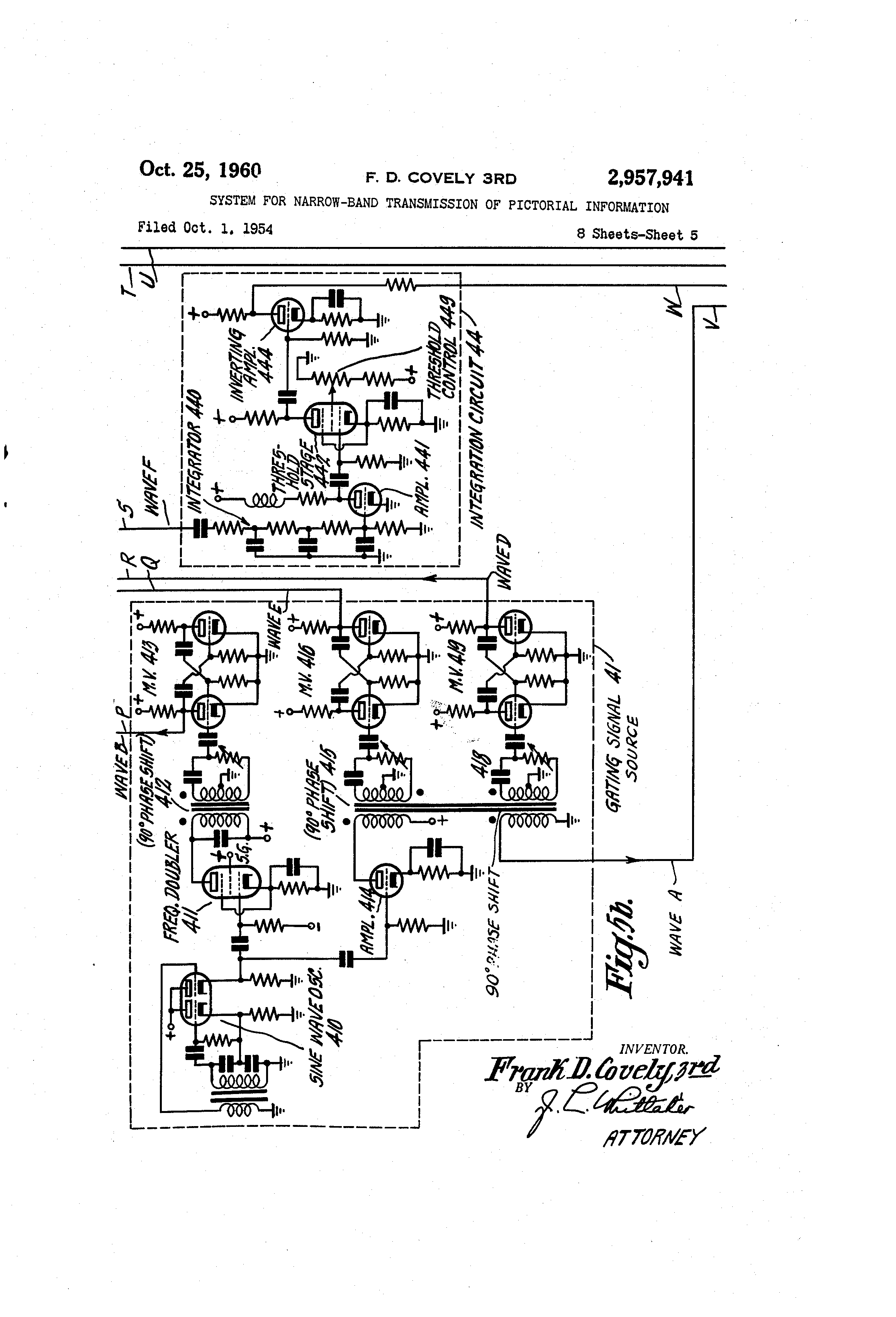 patent us2957941 system for narrow band transmission of patent drawing