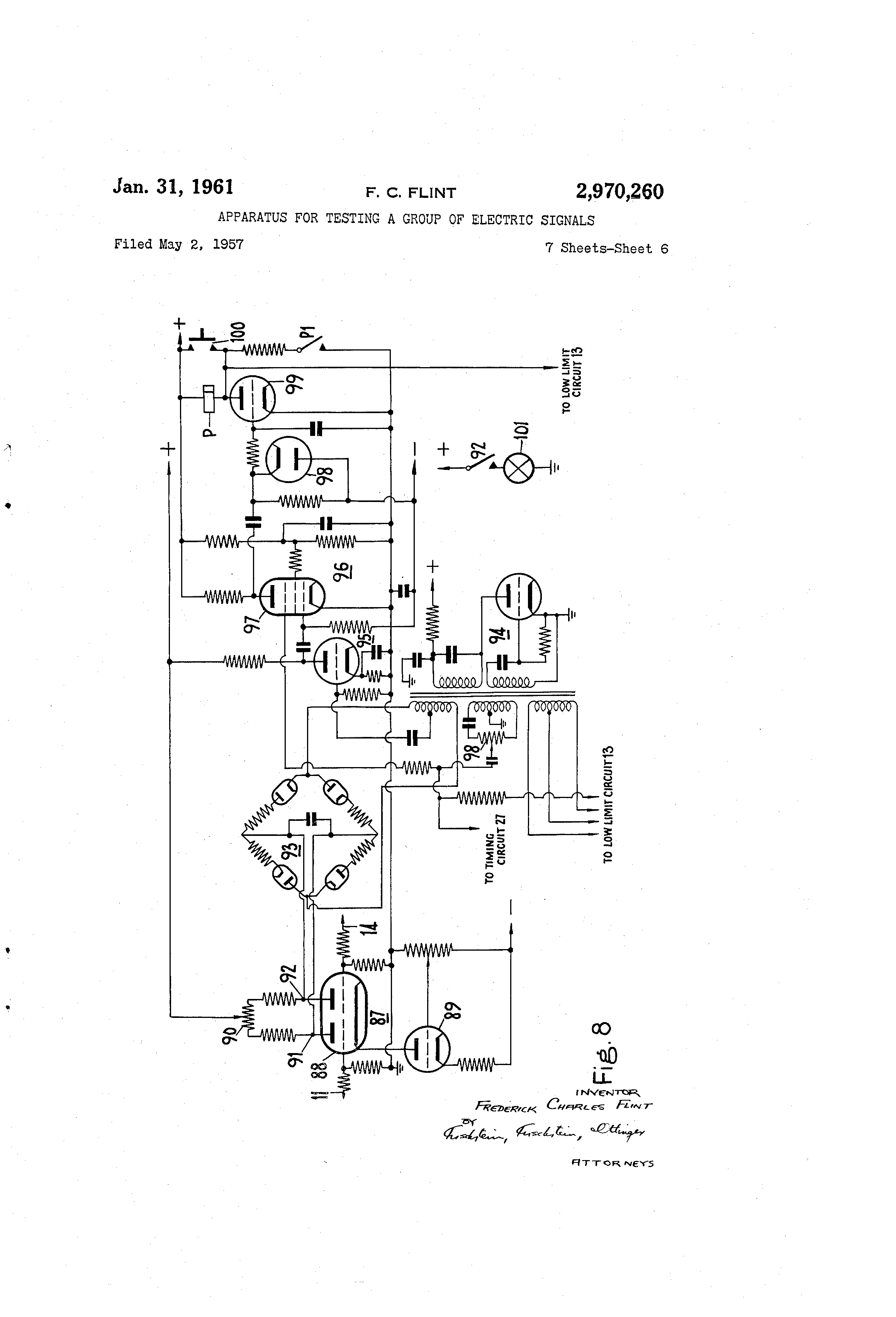 Patent Us2970260 Apparatus For Testing A Group Of Electric Signals Pushbutton Completes The Path Current Flow And Energizes Motor Drawing