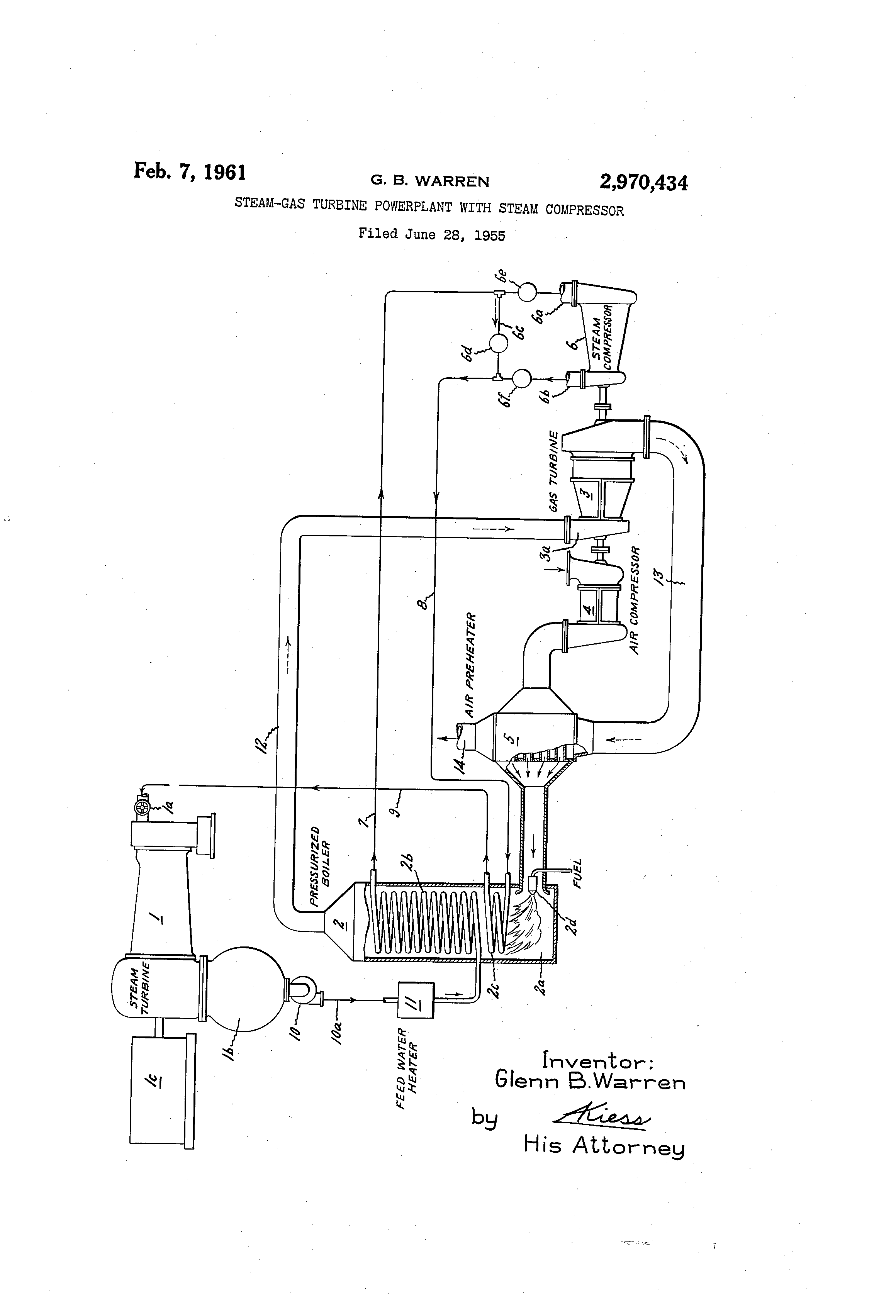 Patent US Steam gas turbine powerplant with steam