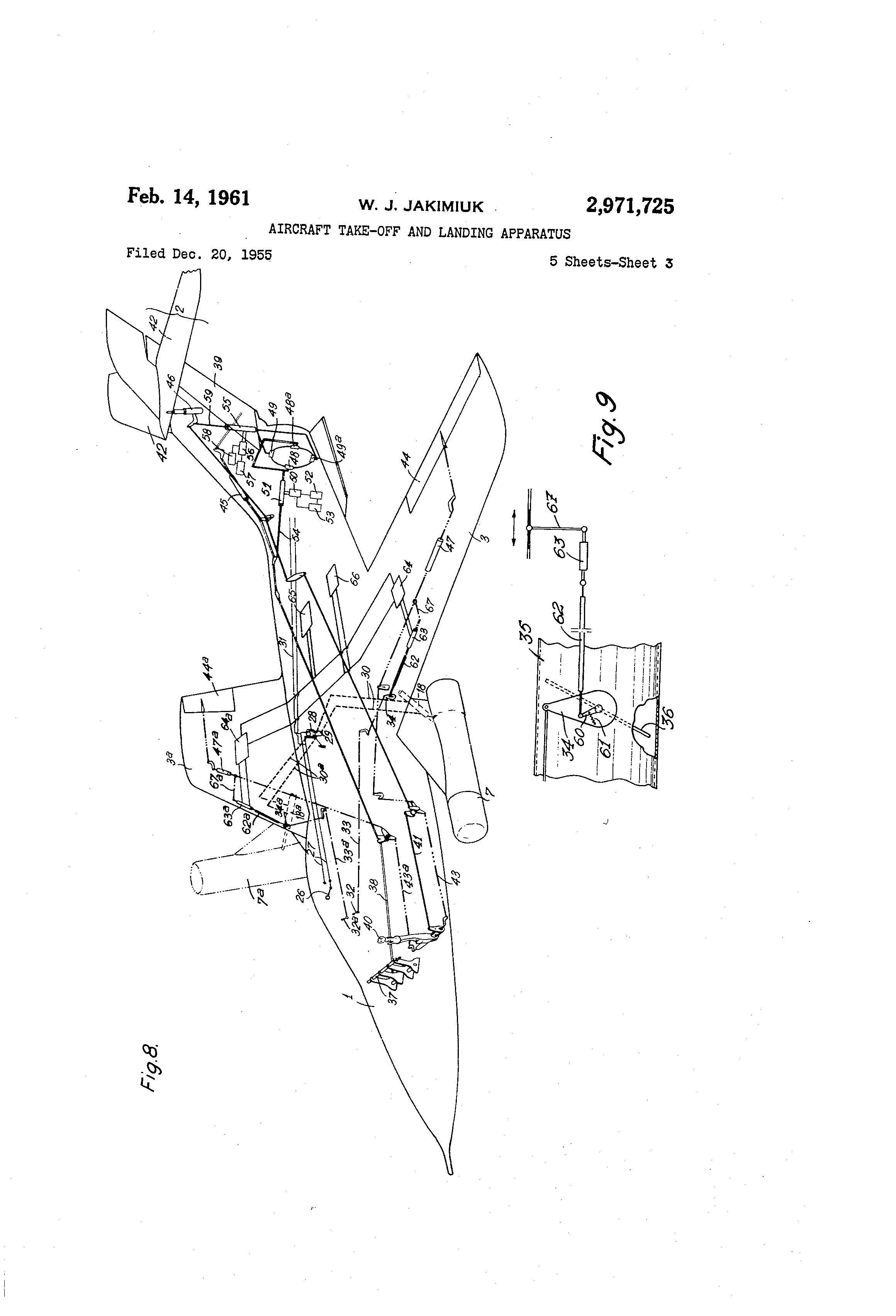 patent us2971725 aircraft take off and landing apparatus Toyota Tacoma Power Steering Diagram patent drawing