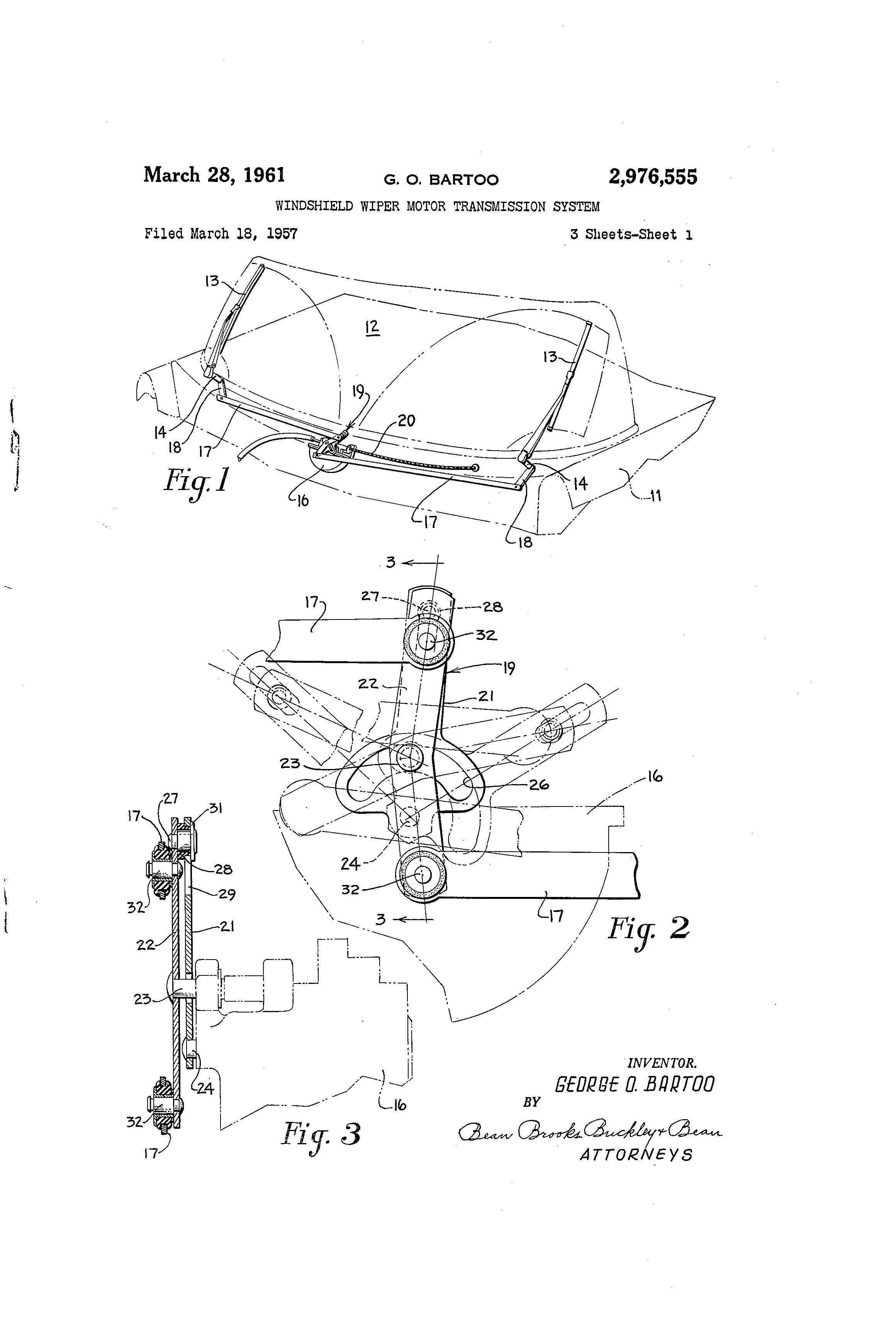 Patent US2976555 - Windshield wiper motor transmission system ...